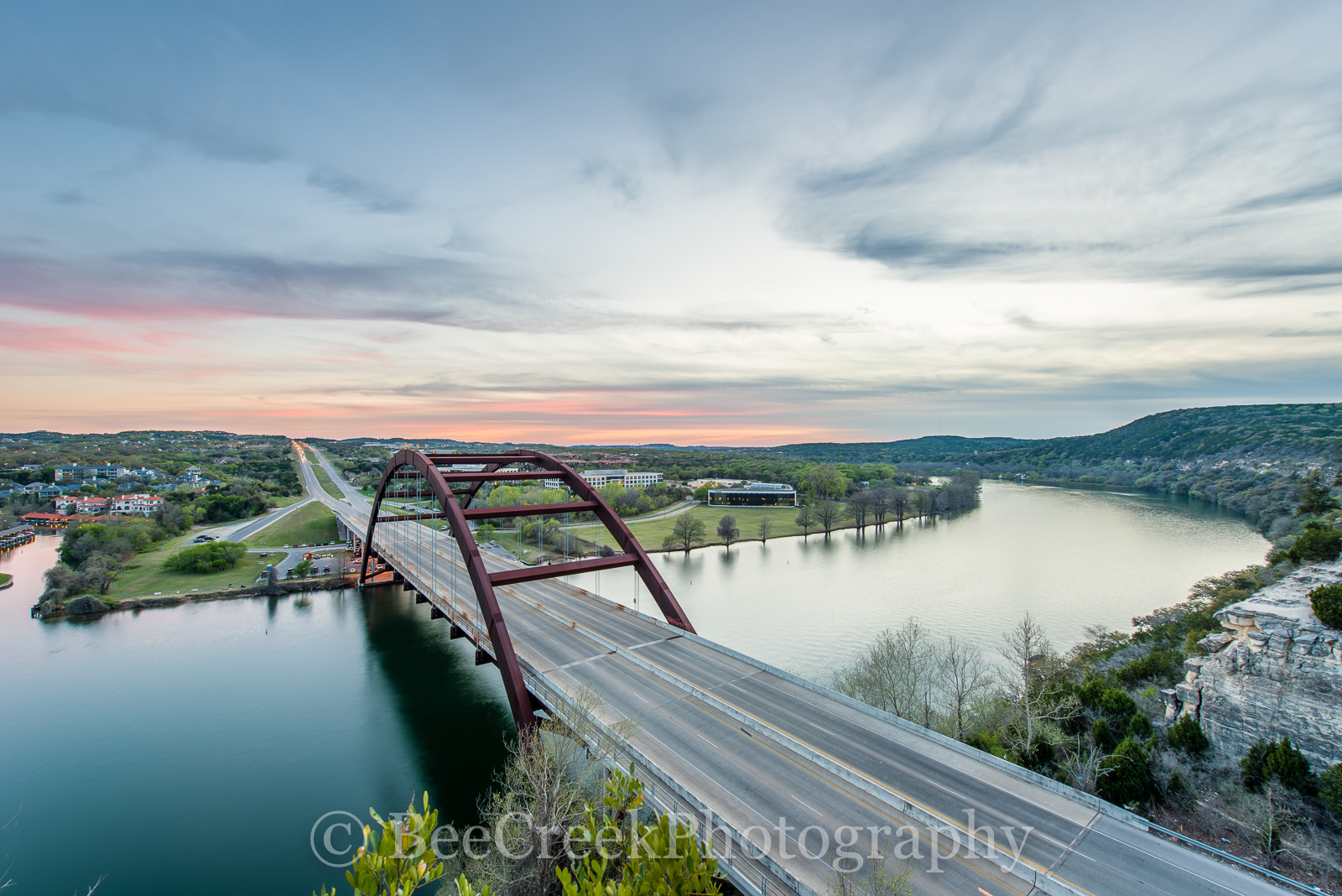 360 Bridge sunset, 360 bridge, Austin, Austin 360 Bridge, Austin skyline pictures, Central Texas, Hill Country, Lake Austin, Penny Backer Bridge photos, Penny Backer Bridge pictures, Pennybacker bridg, photo