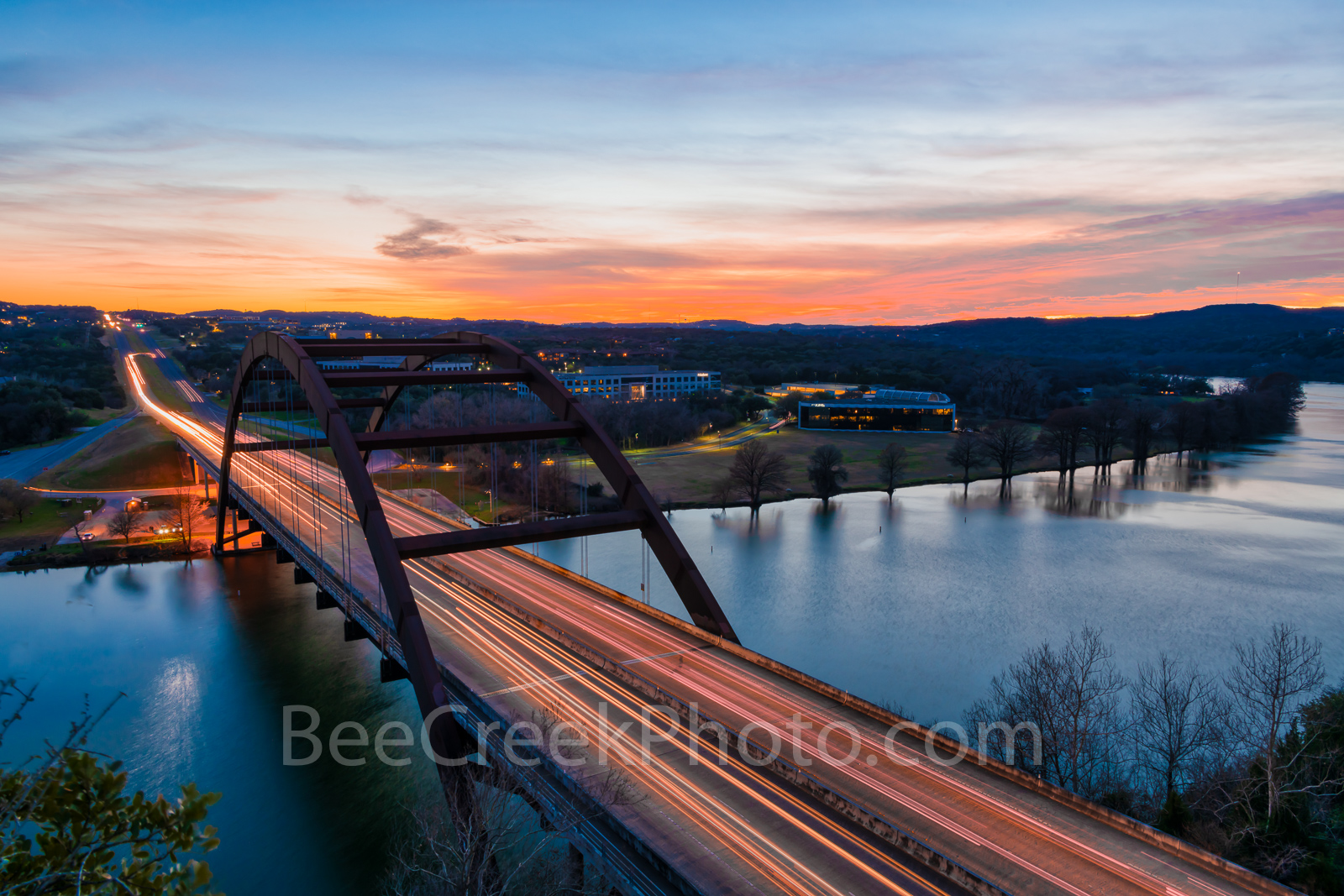 Austin, Pennybacker, bridge, 360 bridge,night, dark, sunset, Lake Austin, colors, texas hill country, texas scenery, boats, hill country,  texas landscape, recreational, boating, swimming, picnicing, , photo
