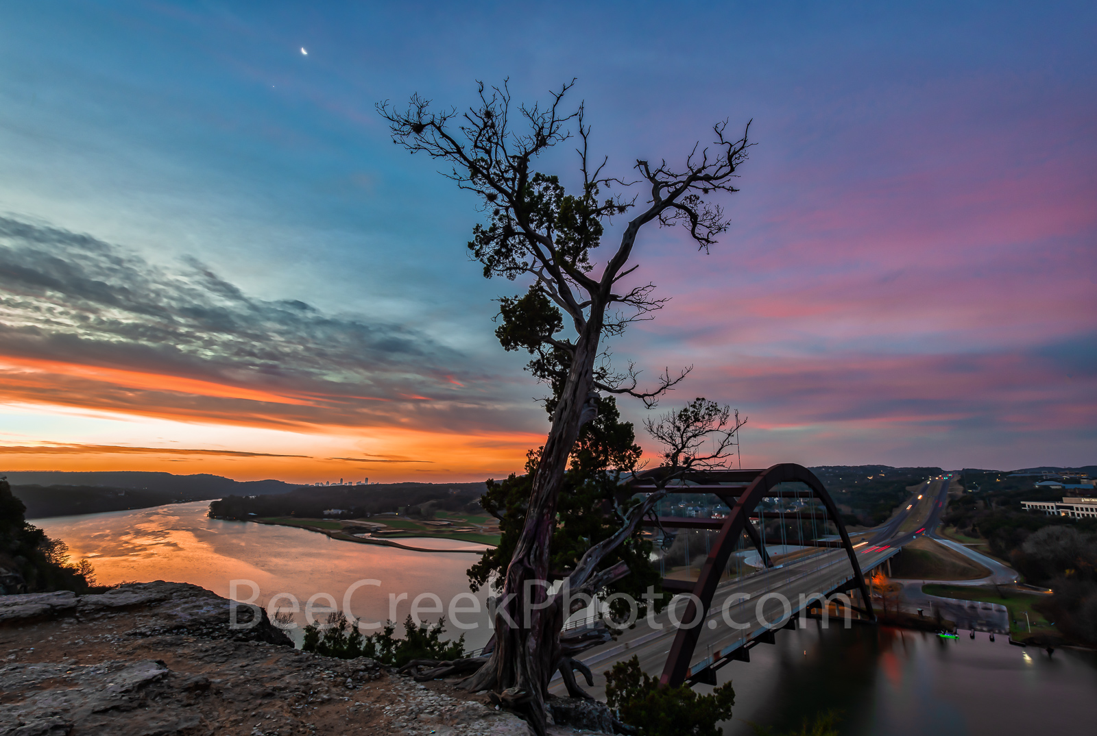 Austin 360 Bridge at Sunrise, Pennybacker Bridge at sunrise, 360 bridge, Sunrise at Austin 360 Bridge, sunrise, Pennybacker bridge, Austin, Lake Austin, sunrise glow, orange,pink, landmark, tourist, p, photo