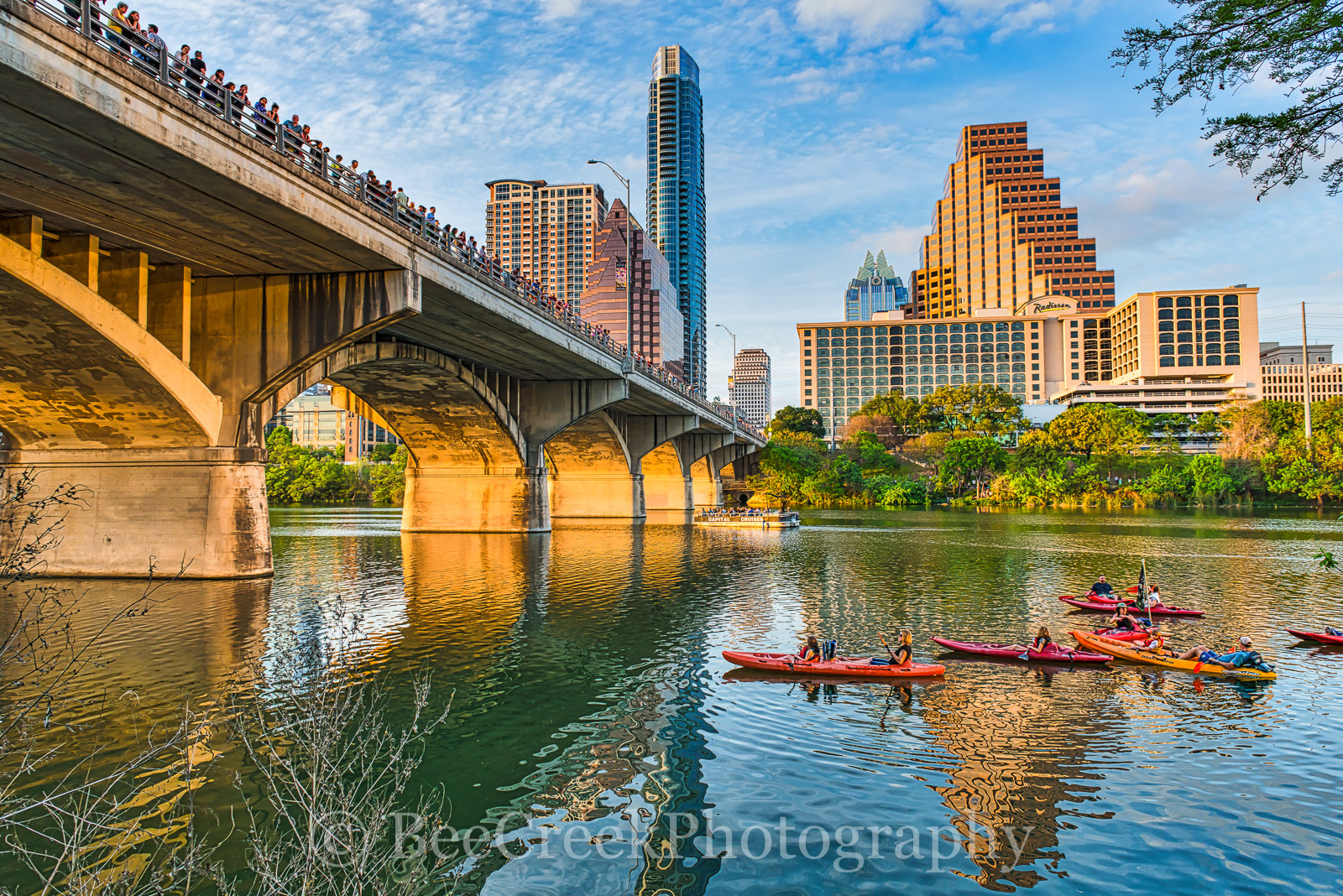 Austin, bats, Austin Bat Watch, city, cityscape, downtown Ann Richards Congress Ave. bridge, kayak, ladybird lake, lifestyle, people, skyline, Austin skyline, , photo
