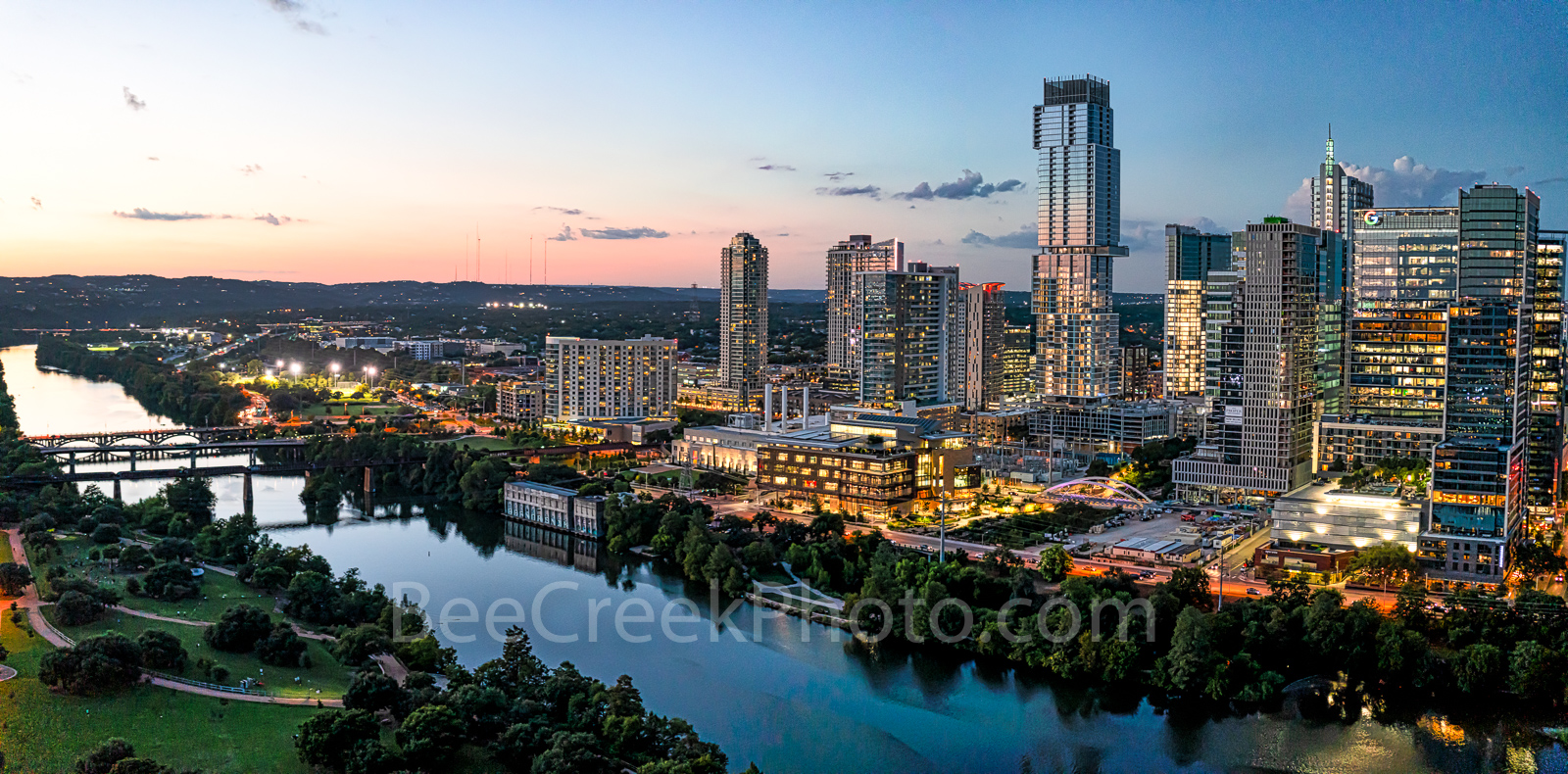 Austin Skyline, austin lady bird lake, dusk, twilight, Austin, skyline, austin skyline pictures, aerial, twilight, dusk, blue hour, lady bird lake, hike and bike trail, cityscape, water, pano, butler , photo