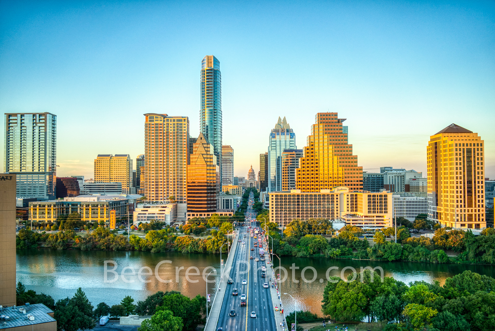 Austin skyline, aerial, capitol, capital, downtown, skyline, city, cityscape, Congress Ave, high-rise, buildings, Frost, Austonian, One Congress Plaza, Radisson, One Congress Plaza, Ashton Condos, One, photo