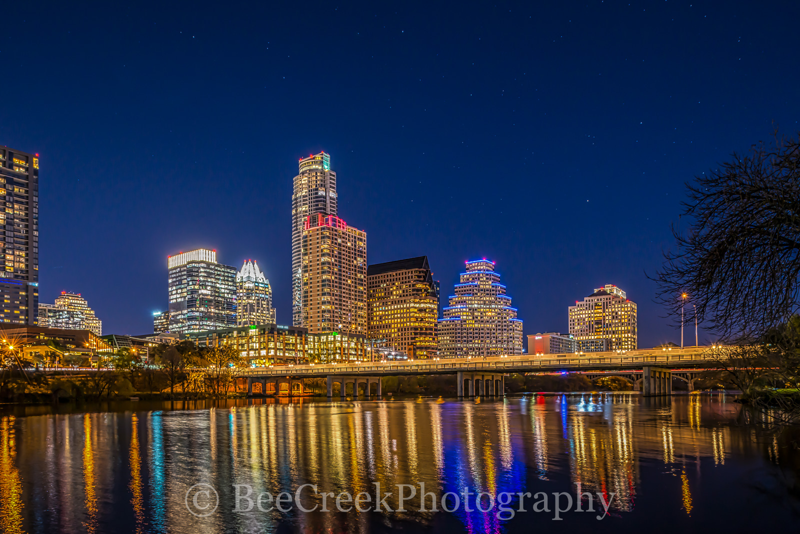 ustin skyline, Austin cityscape, austin, downtown, night, images of austin, austin cityscape, skyline, water, lady bird lake, city, dark, reflections, , austin skylines, austin cityscapes, photo