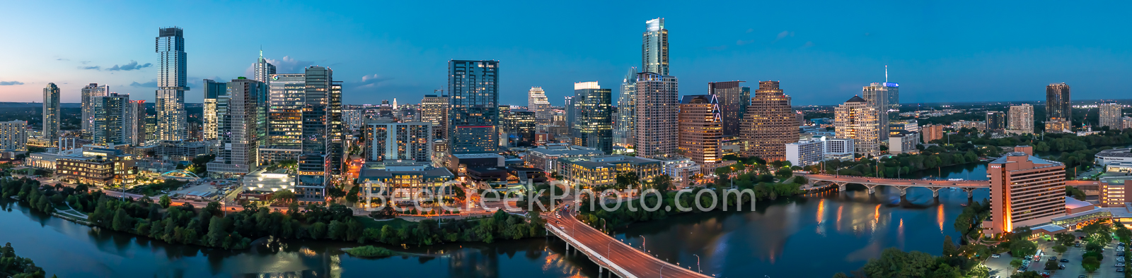 Austin Skyline twilight, Austin, skyline, aerial,twilight, blue hour,  lady bird lake, hike and bike trail, cityscape, wide panorama, water, pano, panorama, tallest building, Independent, Jingle, Goog, photo