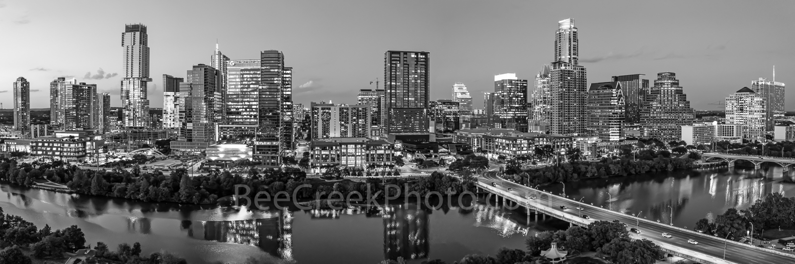 above, Aerial, Austin Skyline twilight, Austin, skyline, aerial,twilight, BW, black and white, lady bird lake, hike and bike trail, cityscape, water, pano, panorama, tallest building, Independent, Jin, photo