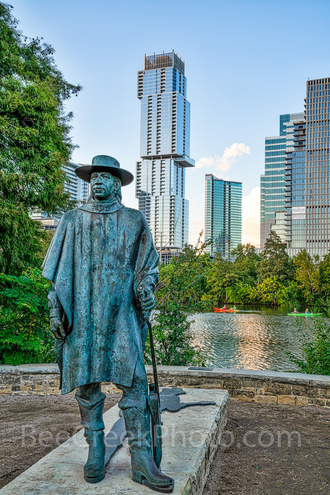 Austin, skyline, Stevie Ray Vaughan statue, bronze, Independent, Jingle, high rise, skyscraper, austin skyline pictures, Lady Bird Lake, Butler hike and bike trail, blues, guitar, rock and roll hall o, photo