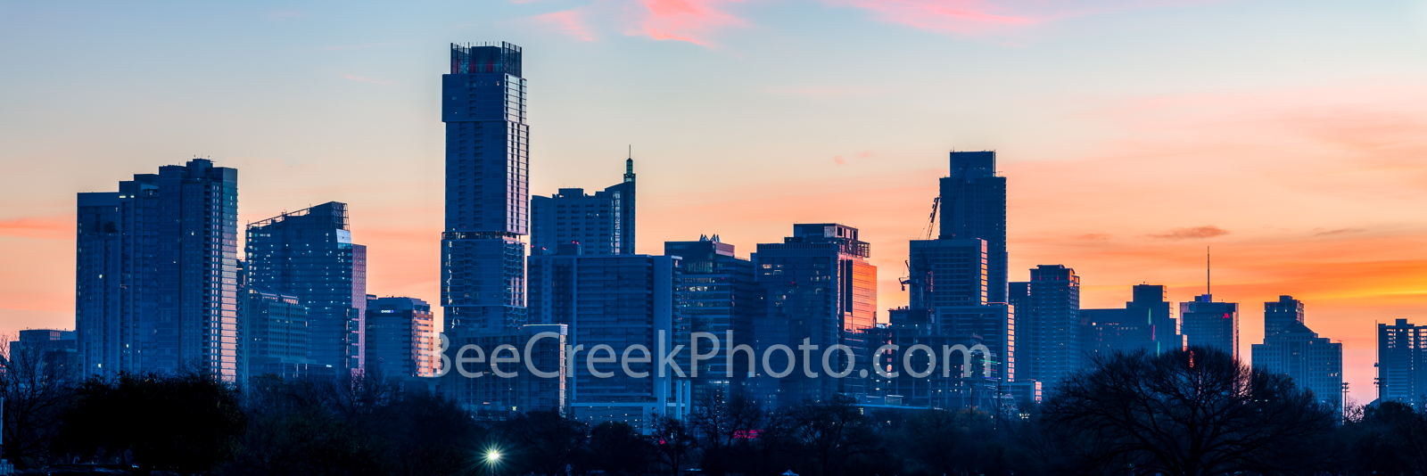 Austin Sunrise Skyline From Zilker Park Pano - We captured this image of the Austin Downtown skyline panorama right at sunrise...