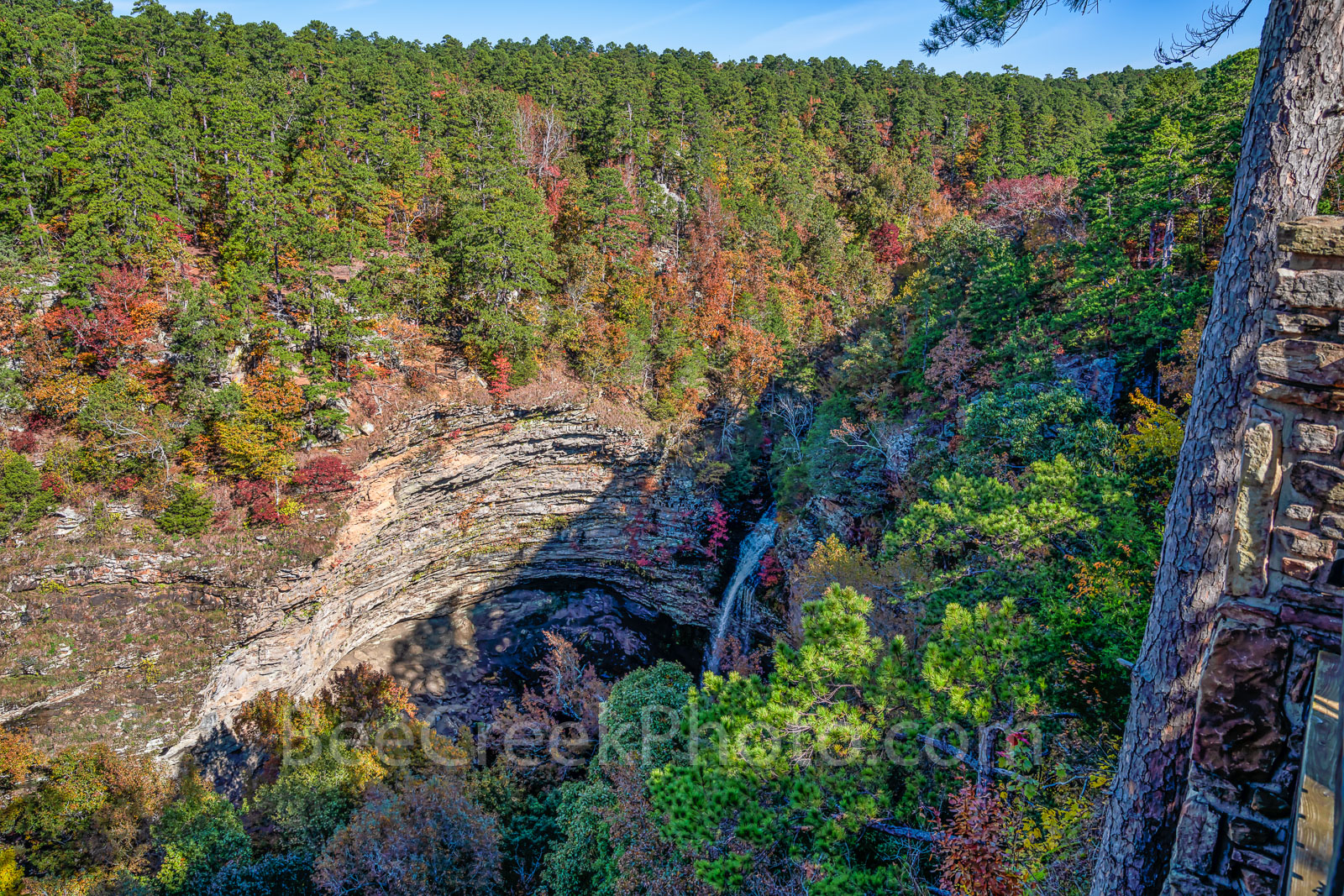 Keywords:cedar fall, waterfall, bluff, cliff, colorful trees, autumn, fall colors, river, pines, southern yellow pine, maples, sweet gum, black hickory, waters, Lake Bailey, stream, wilderness, scenic, photo