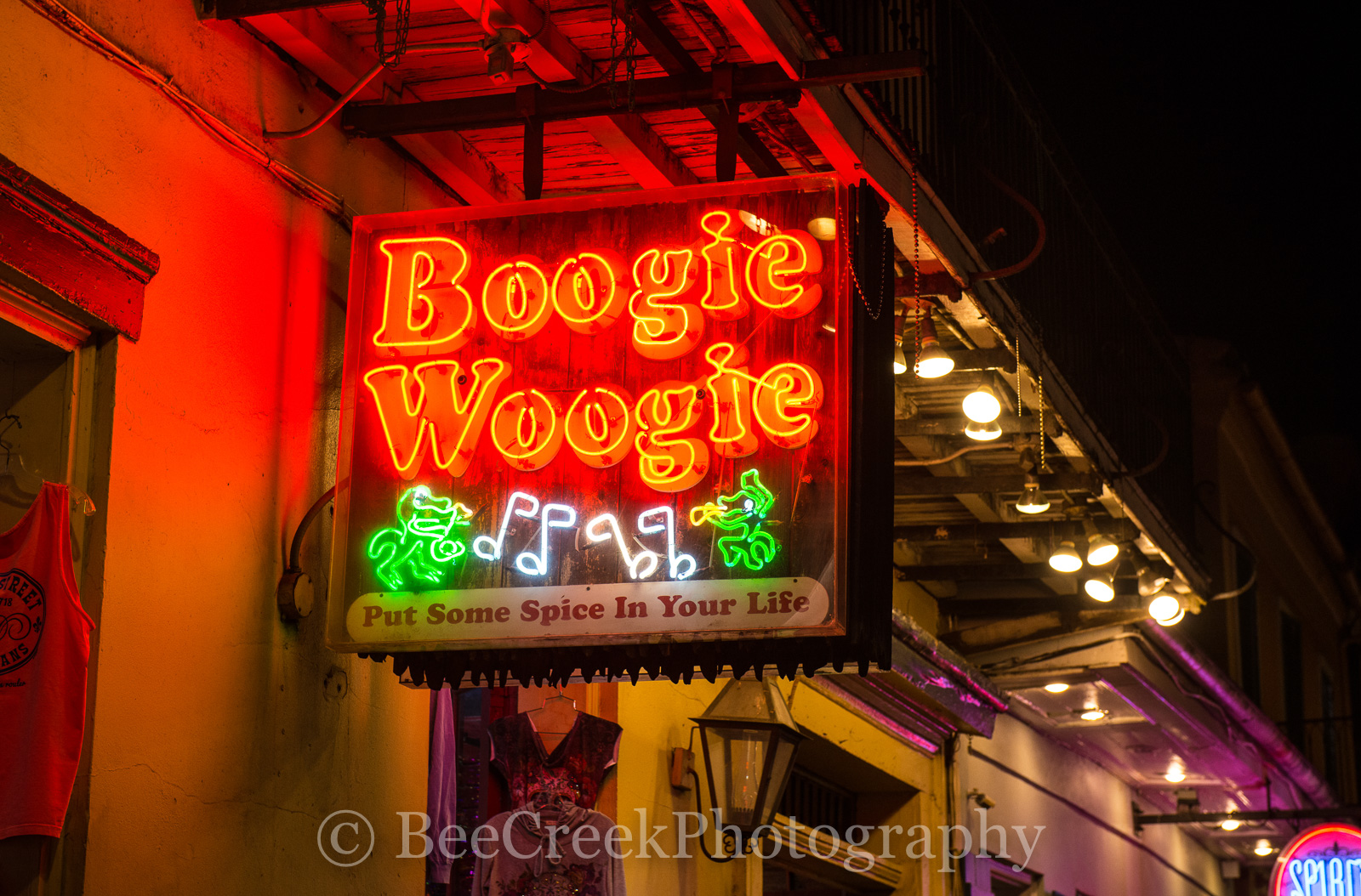 Bourbon Street, French Quarter, New Orleans, bars, live music, neon, neon signs, restaurants, signs, Boogie Woogle neon, , photo