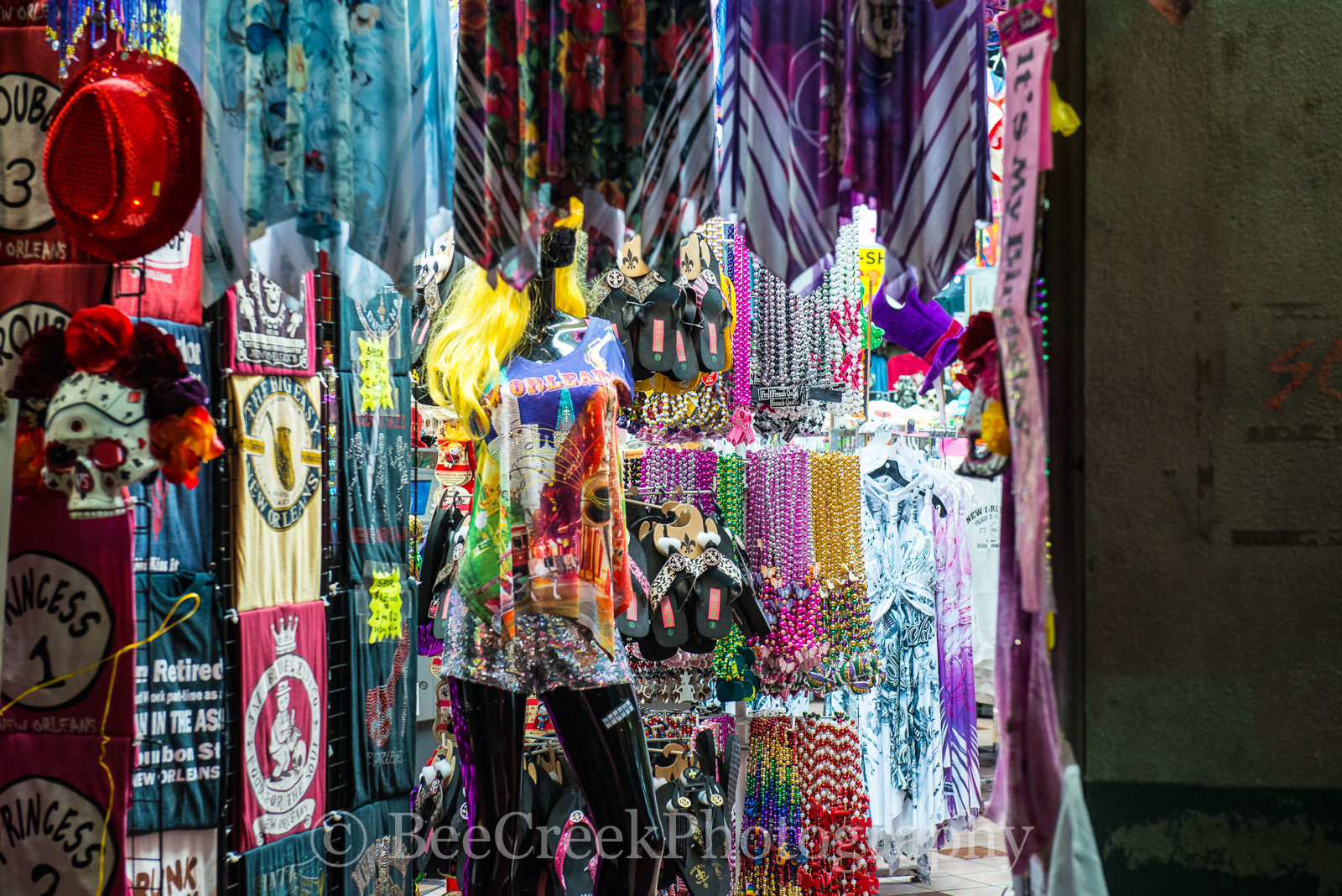 Bourbon Street, French Quarter, New Orleans, beads, city, festival, mardigraw, party, shop, toursit, New Orleans cityscapes, , photo