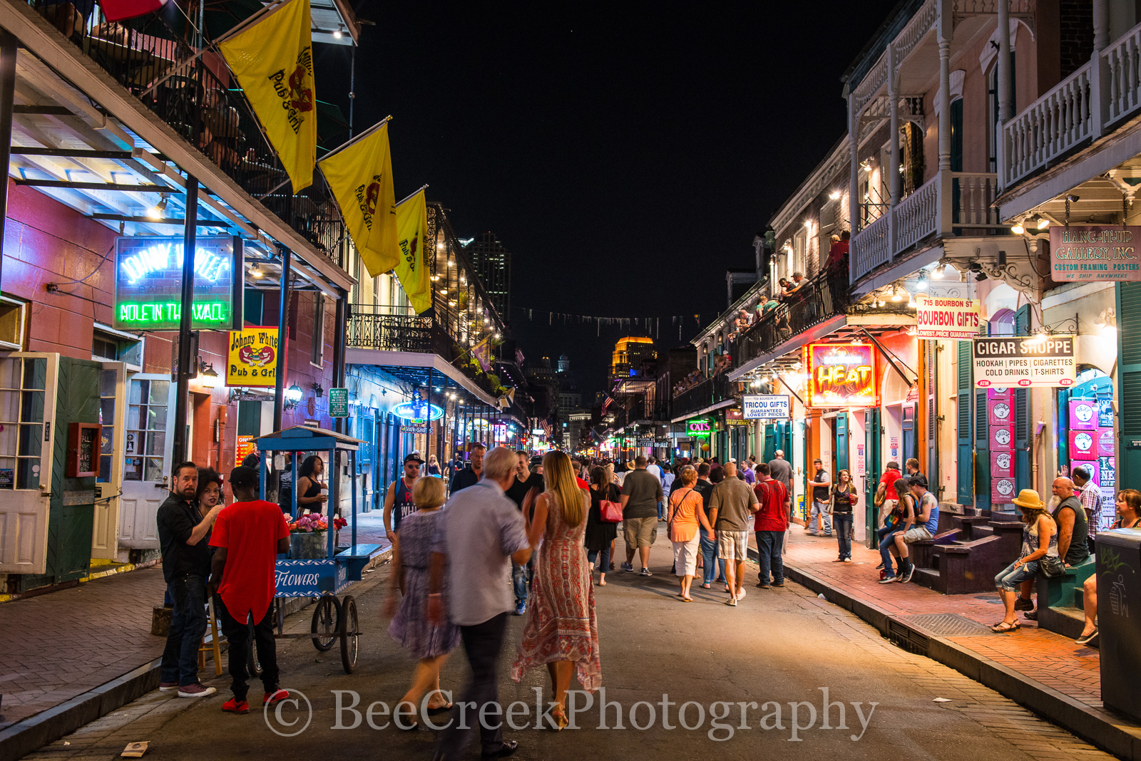 Bourbon Street, French Quarter, New Orleans, bars, city, lifestyle, night, night life, people, street scene, photo