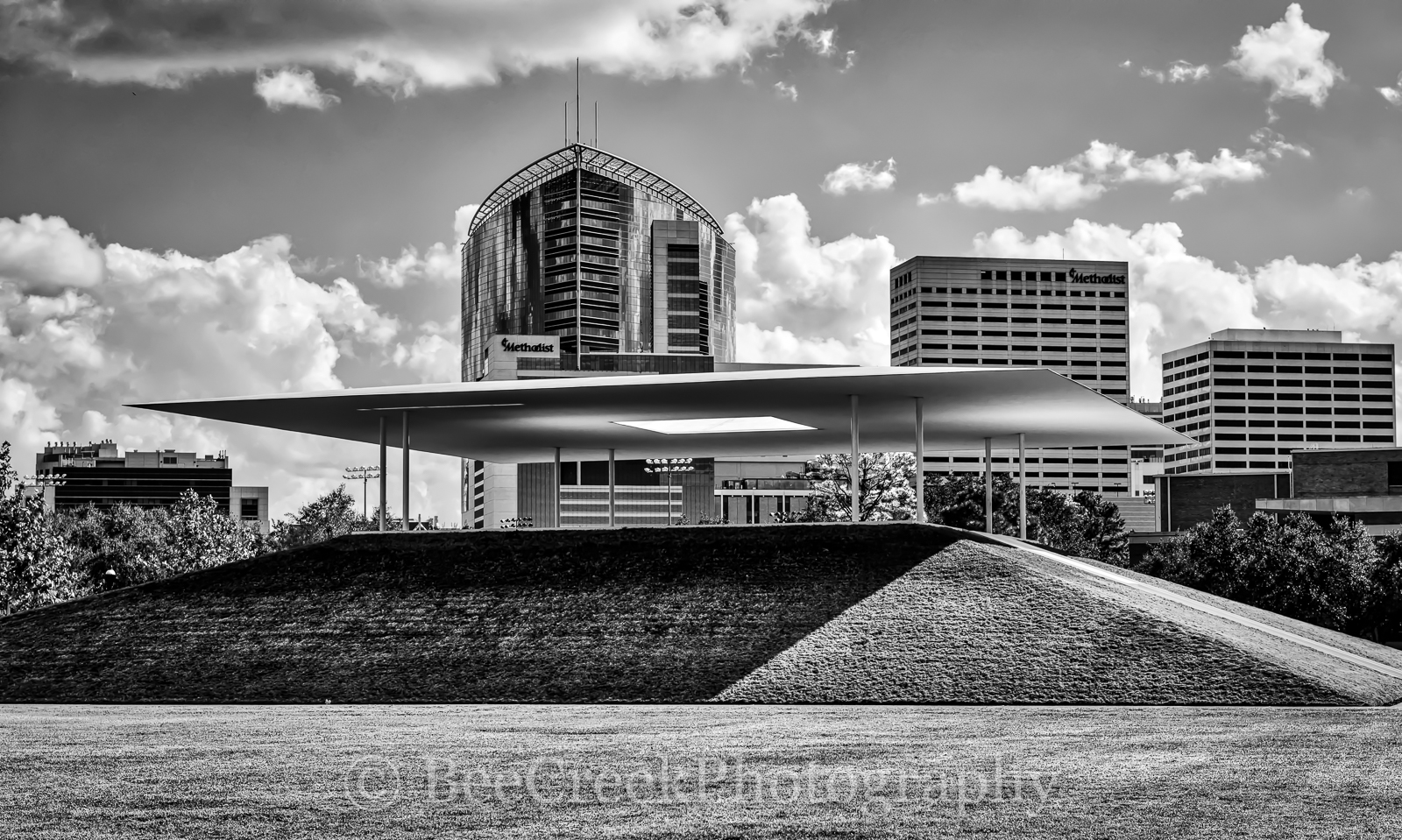 Centinnel Pavillion, Houston, Medical Center, Methodist, Rice, University, black and white, buildings, high-rise, hospital, shape, photo