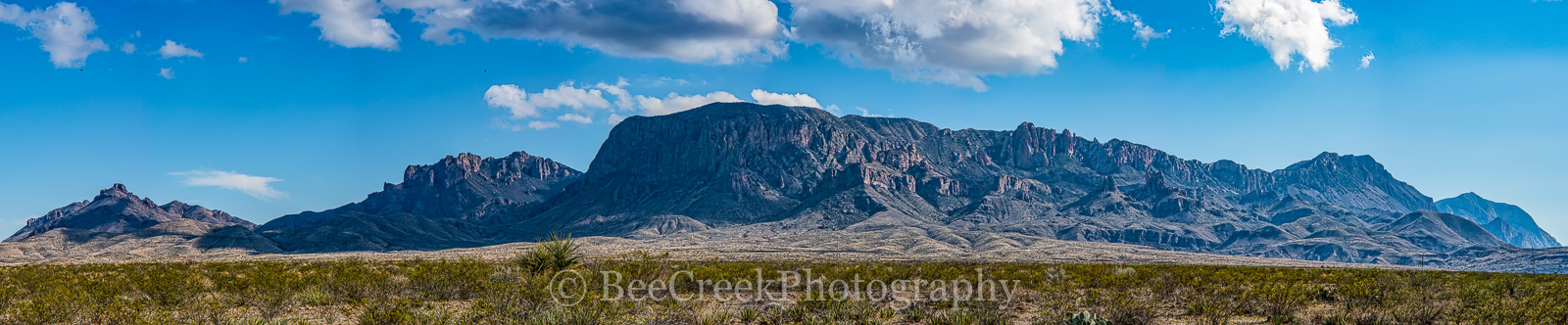 Chiso mountain, landscape, pano, panorama, big bend national park, usa, texas, clouds, blue sky, , photo