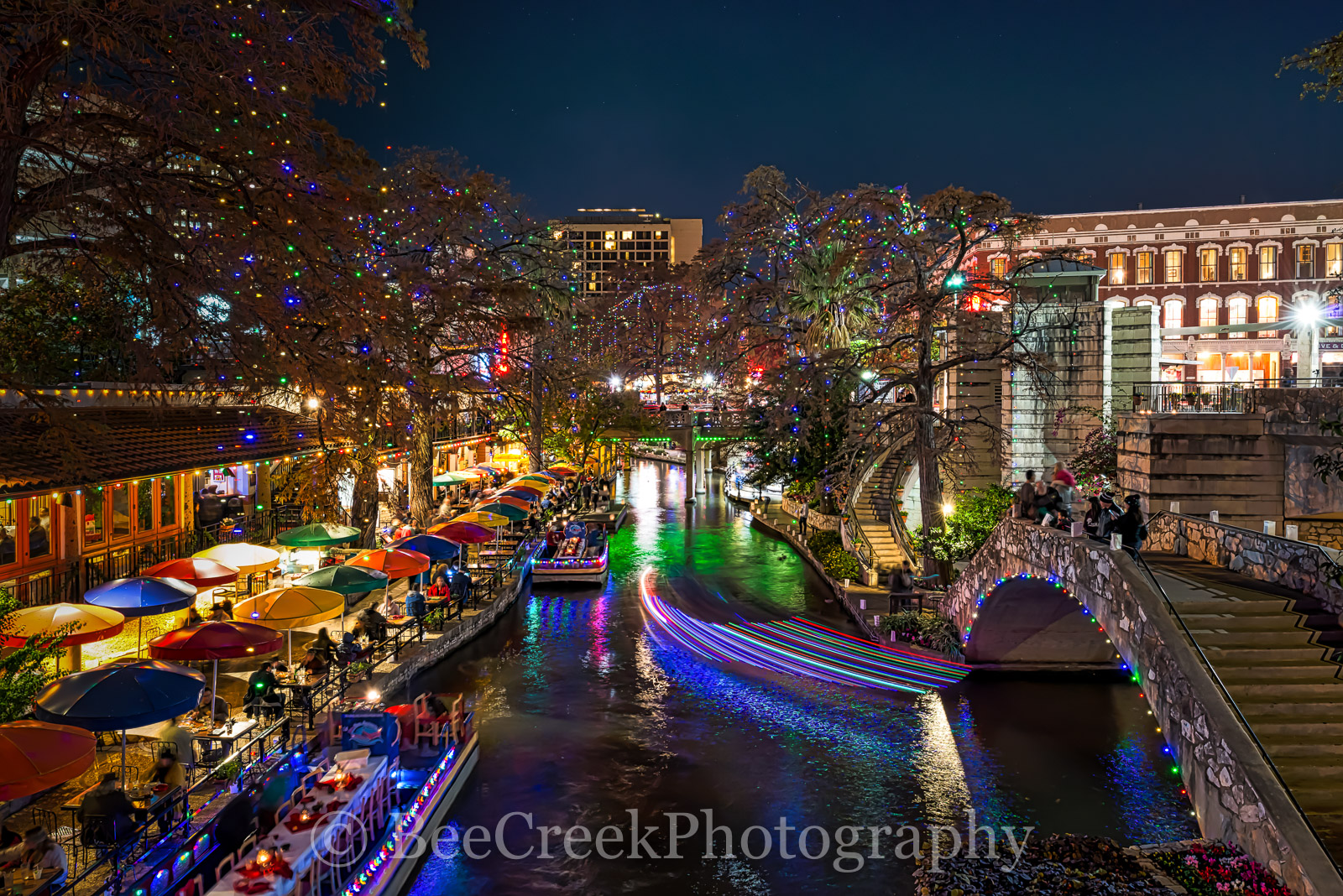 Christmas, Light Trails, Riverwalk, San Antonio, blue, boats, cityscape, cityscapes, colorful, decorations, festive, green, holiday, lights, red, photo