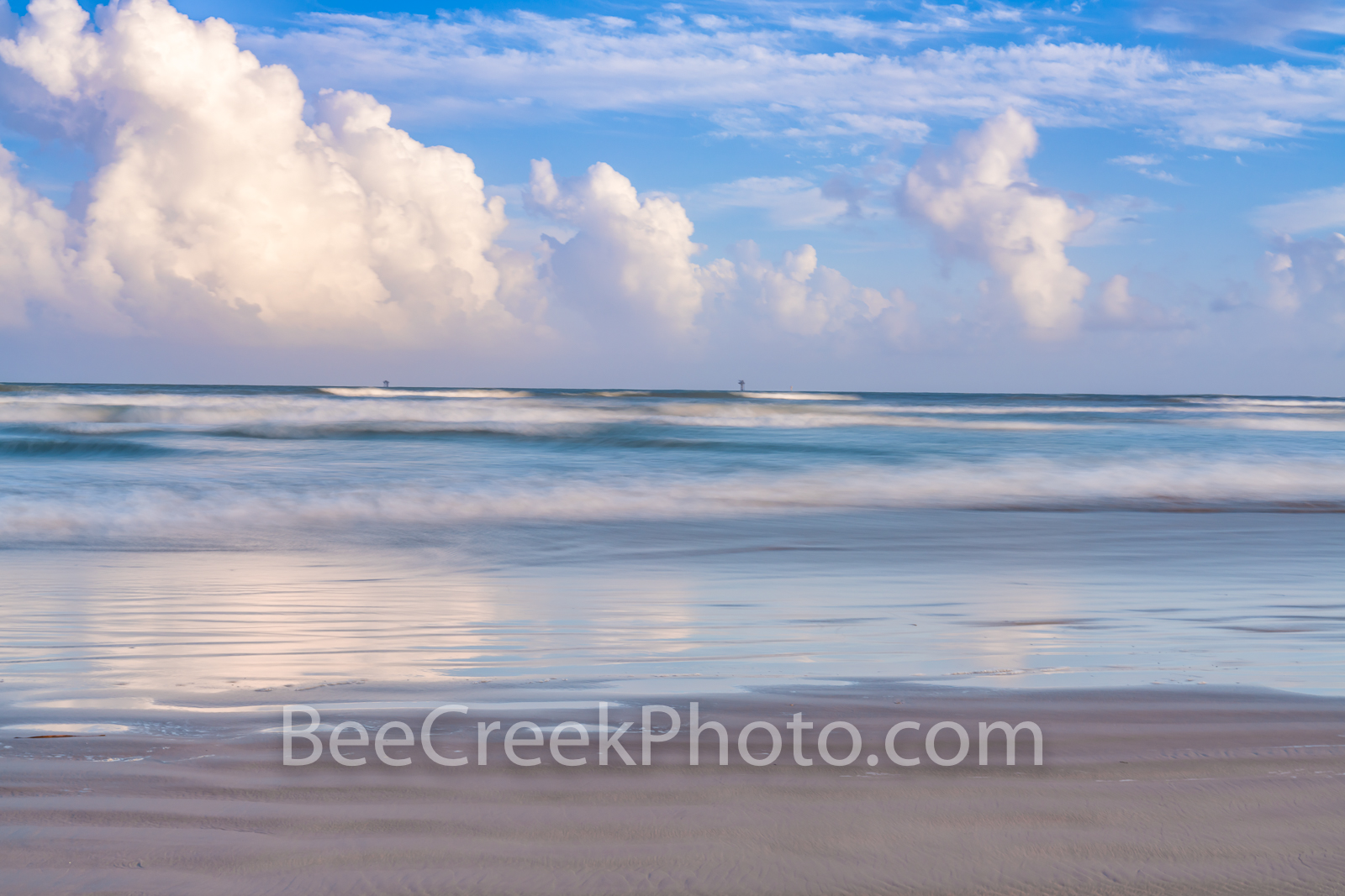 port aransas, beach, clouds, gulf of mexico, port a, sea, ocean, blue, clouds, reflections, reflect, beautiful, pastel, colors, colorful, seascape, beach scene, texas coast, coastal, waterscape,