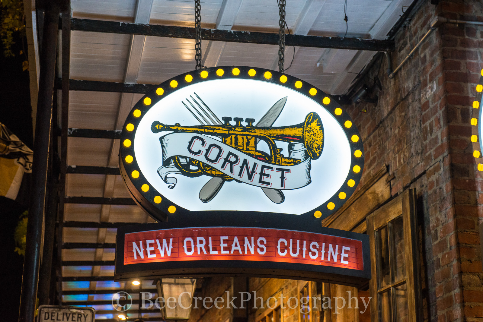 Bourbon Street, French Quarter, New Orleans, bars, live music, neon, neon signs, restaurants, signs, Cornet, , photo