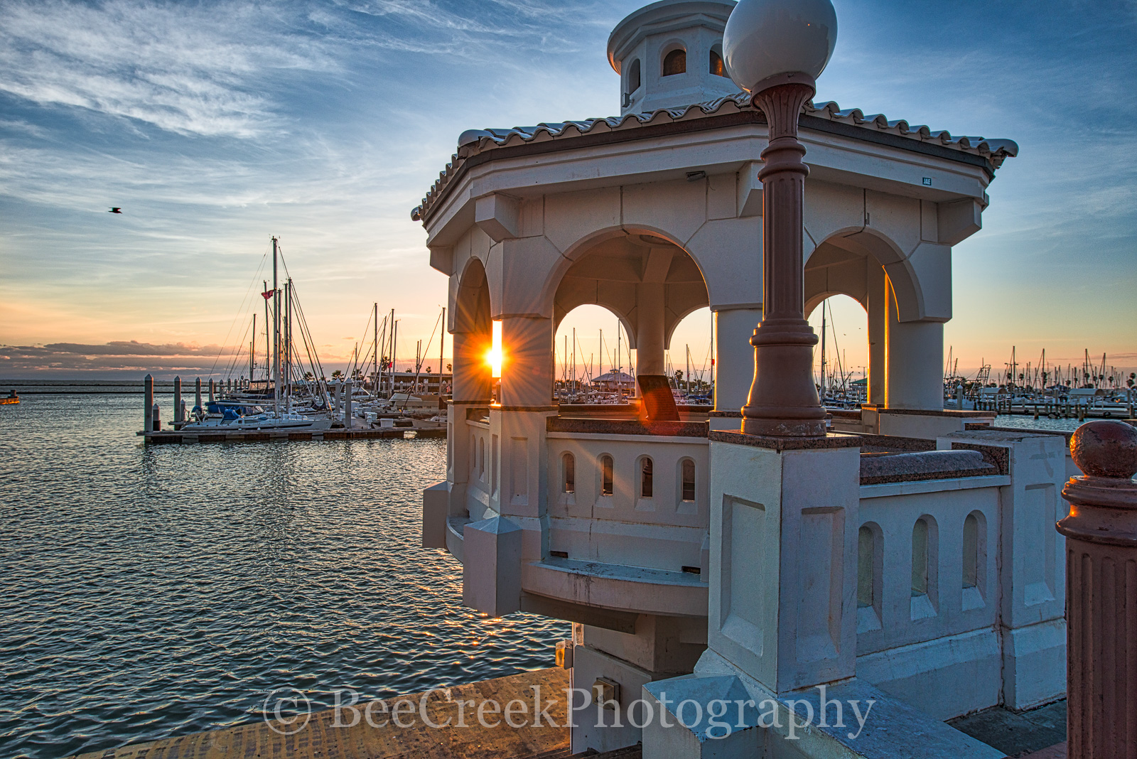 Corpus Christi sunrise, Miradores Del Mar Gazebos, bay, boats, city, cityscape, colorful sky, docks, gazebo, gulf coast, gulf of mexico, ocean, sailboats, seascape, seawall, photo