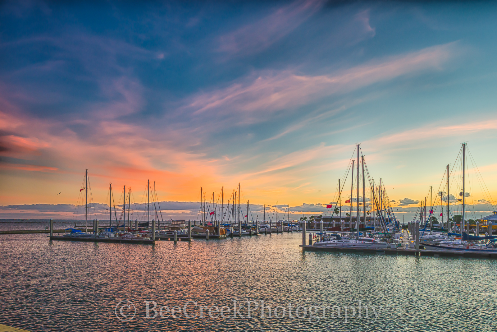 Corpus Christi sunrise, Sunrise, Texas Coast, bay, boats, city, coastal, colorful sky, docks, gulf, gulf of mexico, landscape, landscapes, marina, ocean, seascape, seawall, photo