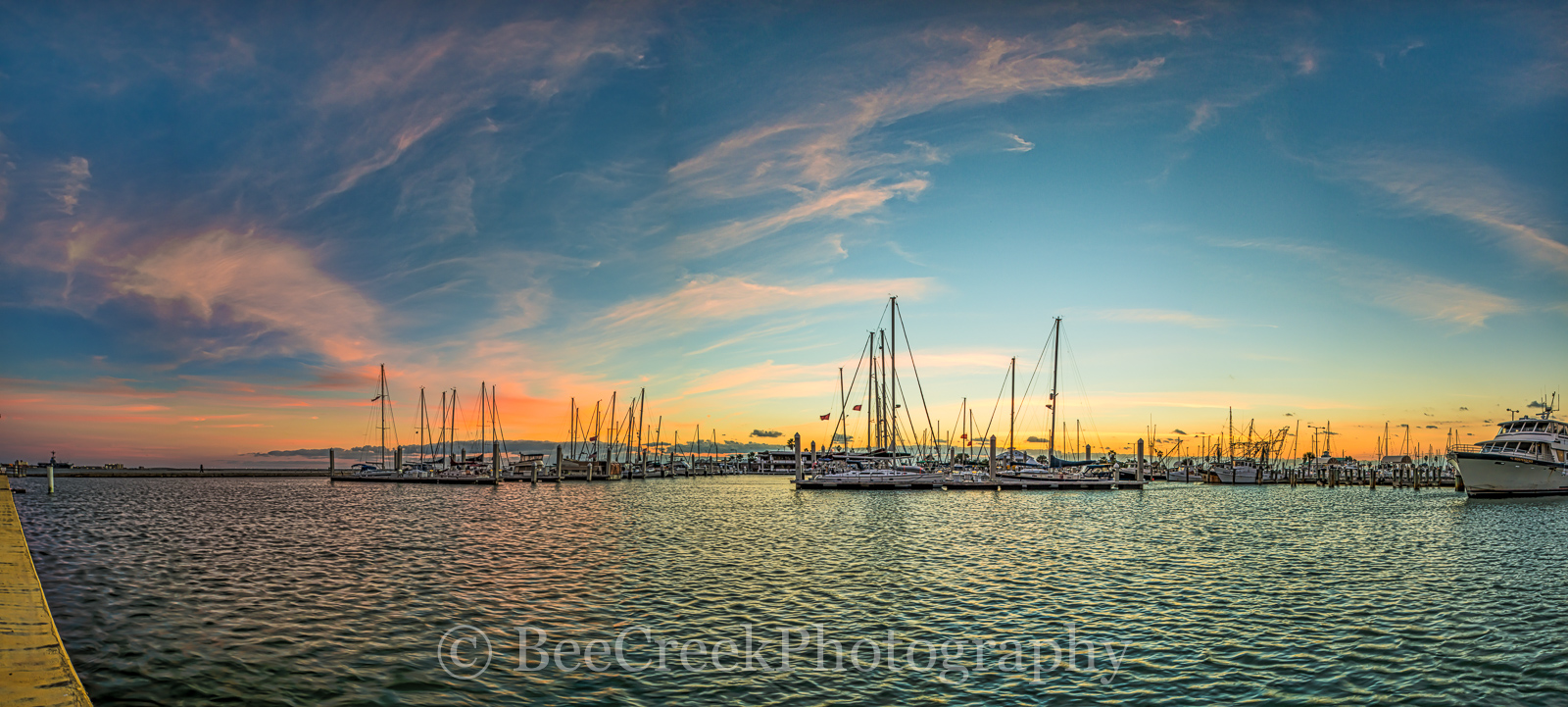 Corpus Christi, Sunrise, Texas Coast, bay, blue, boats, coastal, gulf, marina, ocean, oranges, pano, panorama, pinks, sailboats, sea, sea wall, seascape, seascapes, seashore, texas seashore, whispy cl, photo
