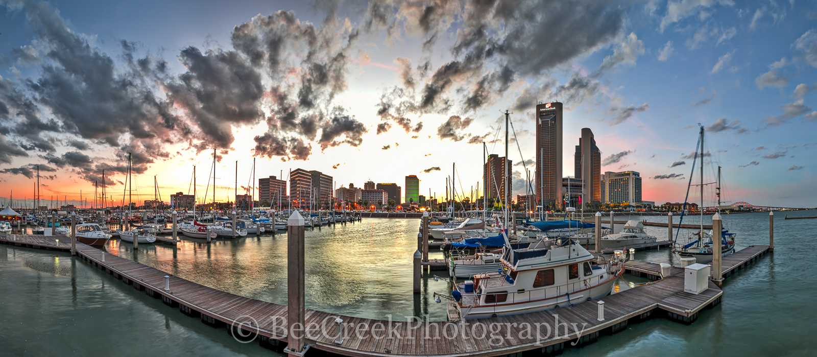 Corpus Christi, Texas Coast, bay, beach, boats, city, cityscape, clouds, coastal, colorful skies, dock, dusk, gulf of mexico, landscape, marina, nautical, oceanscape, panorama, sailboats, scenic, seas, photo