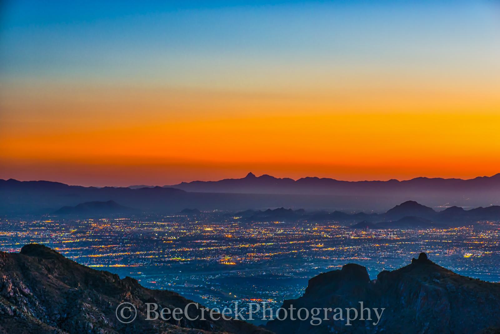Sunset, Tucson, Santa Catalinas Mountains, Tucson, mountains, colorful skies, scenic vista, orange, City, City lights, Cityscape, Tucson, skyline of Tucson, City lights of Tucson from Mountains, image, photo