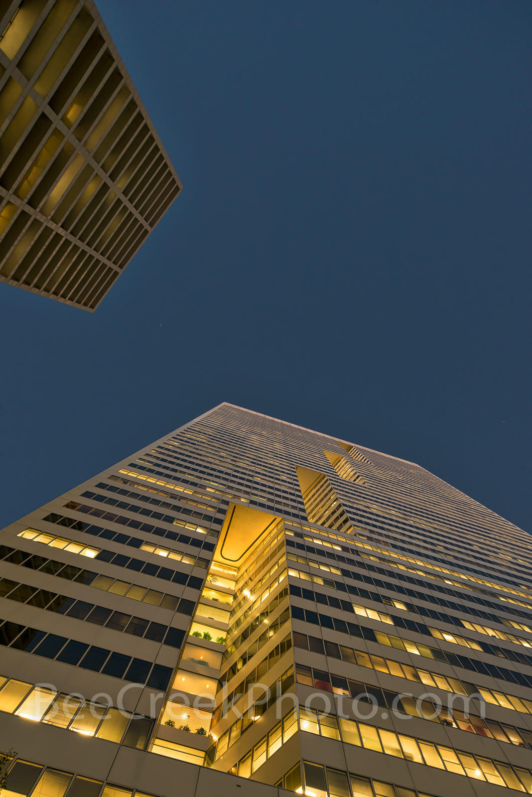 Houston, downtown, high rise, building, city, lightning, perspective, night, , photo