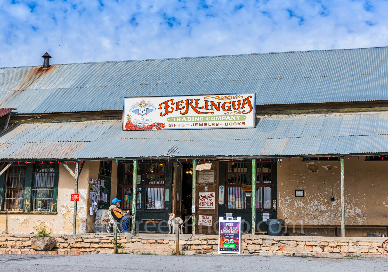 Terlingua, Front porch, west texas, people, guitar, dog, laid back, Travel, Leisure, vacation, tourism, lifestyle, west texas, , photo