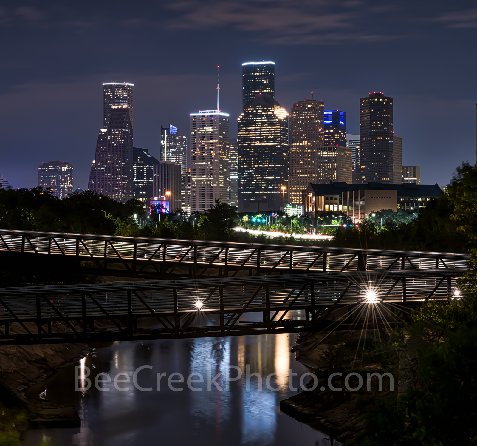 Houston skyline, Rosemont, pedestrian bridge, pano, panorama, buffalo Bayou, downtown,night, city, parks, cultural events, theater district, sports, music, events, performing arts, Houston stock,