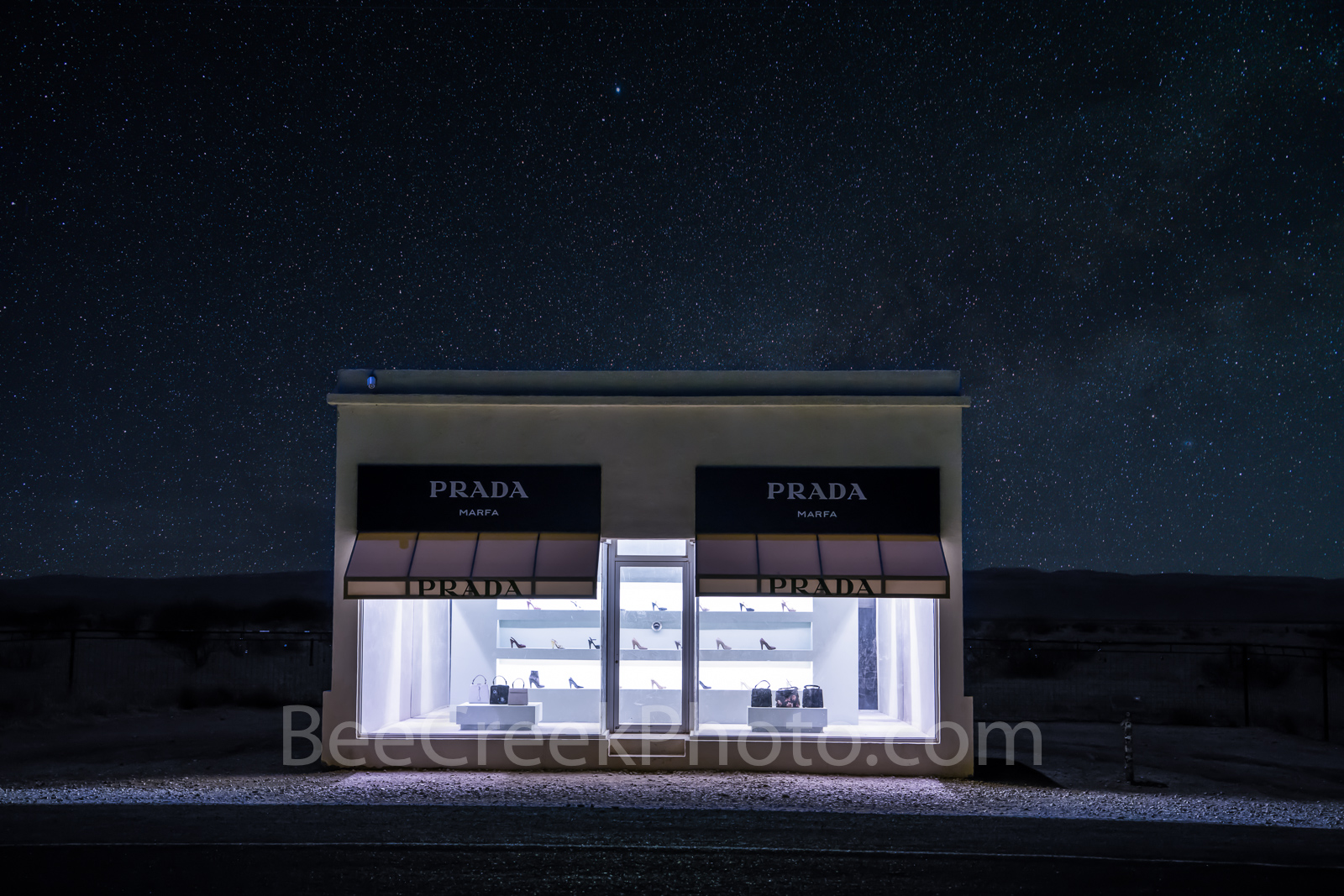 Prada Marfa, stars, night, dark, Marfa lights, west texas, starry, night skies, pop art, artist, Elmgreen and Dragset, pop architectural land art, shoes, purses, store front, west texas landscape,