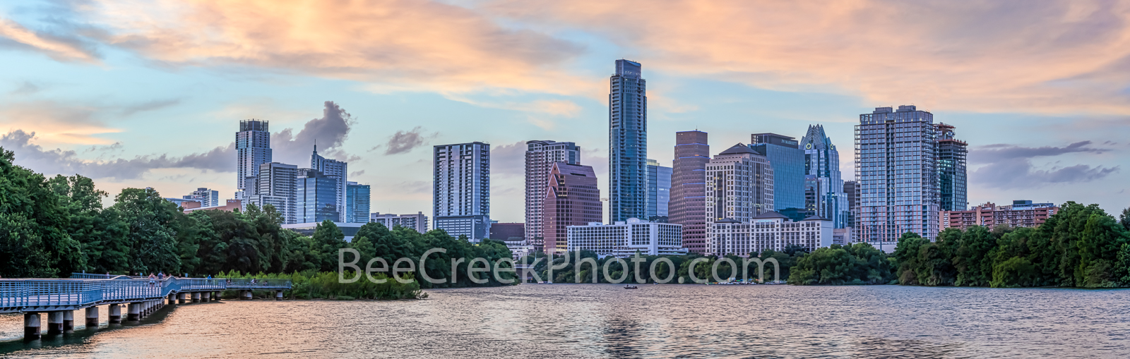 Austin Skyline Sunset Pano 2019 - Austin skyline as the sunset leaves this pink glow over Lady Bird Lake shoreline from the boardwalk...