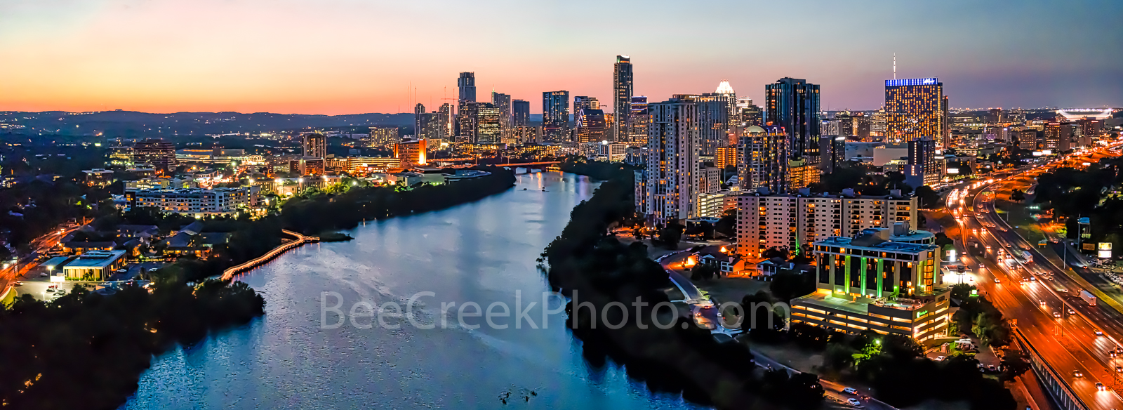 Austin Downtown Night Pano, Austin skyline, Austin cityscape, downtown, shoreline, lady bird lake, town lake, cityscape, Independent, Austonian, buildings,pano, panorama, aerial, drone, , photo