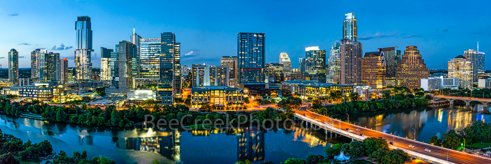 Austin Skyline, Austin Skyline pictures, Austin skyline images, image of Austin skyline, twilight, Austin, skyline, twilight, blue hour, aerial, lady bird lake, hike and bike trail, cityscape, water, , photo