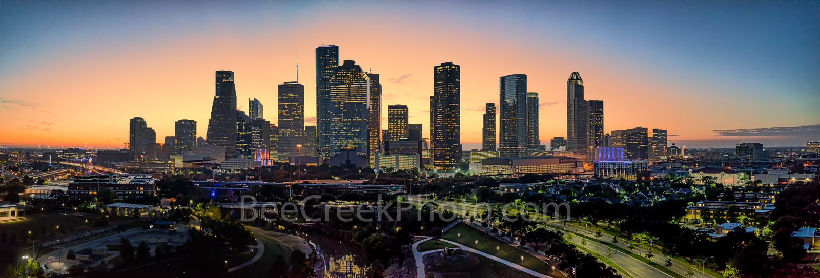Houston skyline, Sunrise, glow, pano, panorama, Buffalo Bayou, skylines, Houston cityscape, cityscapes, downtown, reflections, pinks, oranges, sky, morning, city views, city, cities, high rise, Housto, photo