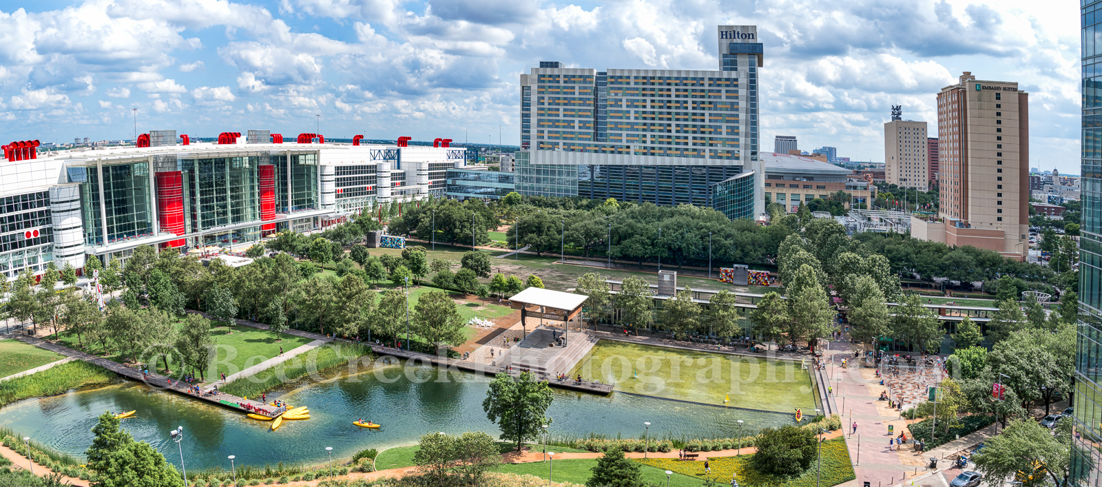 Houston, Discovery Green Park, aerial, panorama, pano, overview, George Brown Convention Center, hotels, Hilton, Embassy Suites, Toyota Center, Kinder lake, Avenida Plaza, spray park, amptheater,, photo