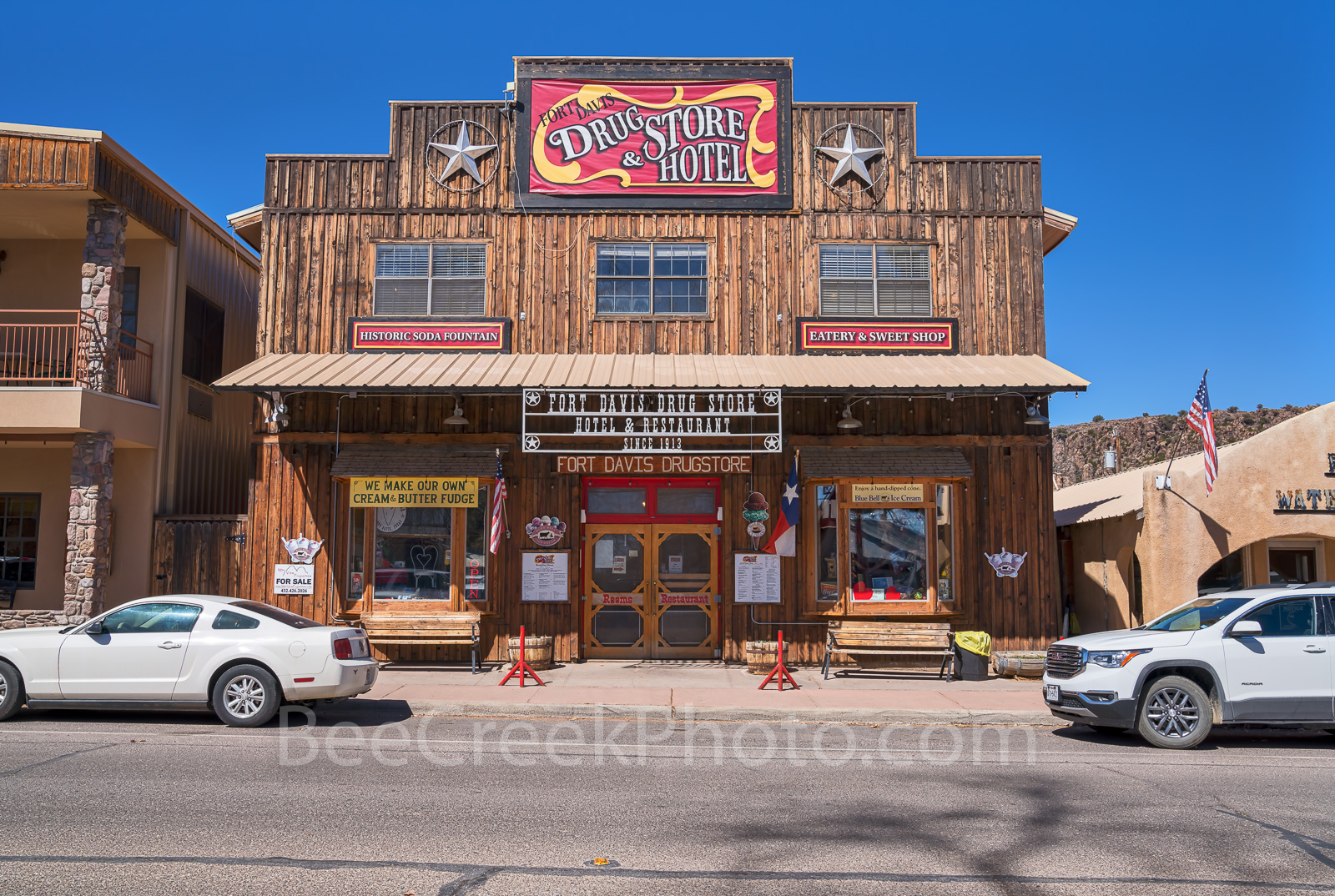 Fort Davis Drug Store and hotel, downtown, meals, soda fountain, fountain drinks, old timey feel, drug counter, burgers and shakes, Fort Davis, Davis mountains, west texas, , photo