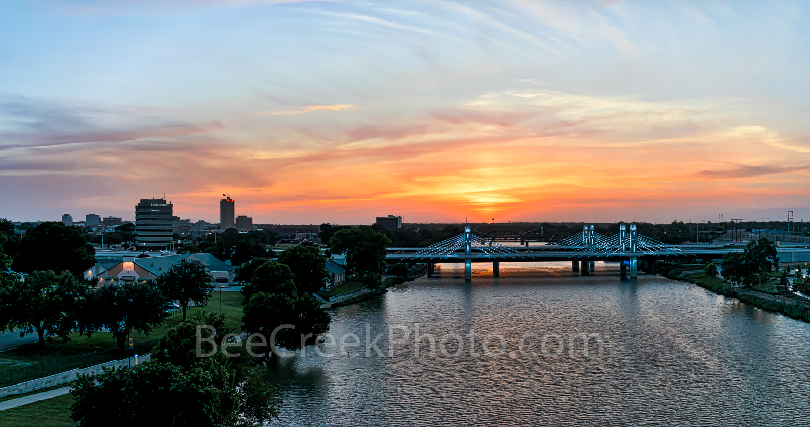 Waco, skyline, cityscape, Brazos River bridge, aerial, sunset, downtown, IH35 stay bridge, orange glow, dusk, colorful led, texas, Jack Kultgen Freeway,pano, panorama, Alcoa, Baylor University Tower, , photo