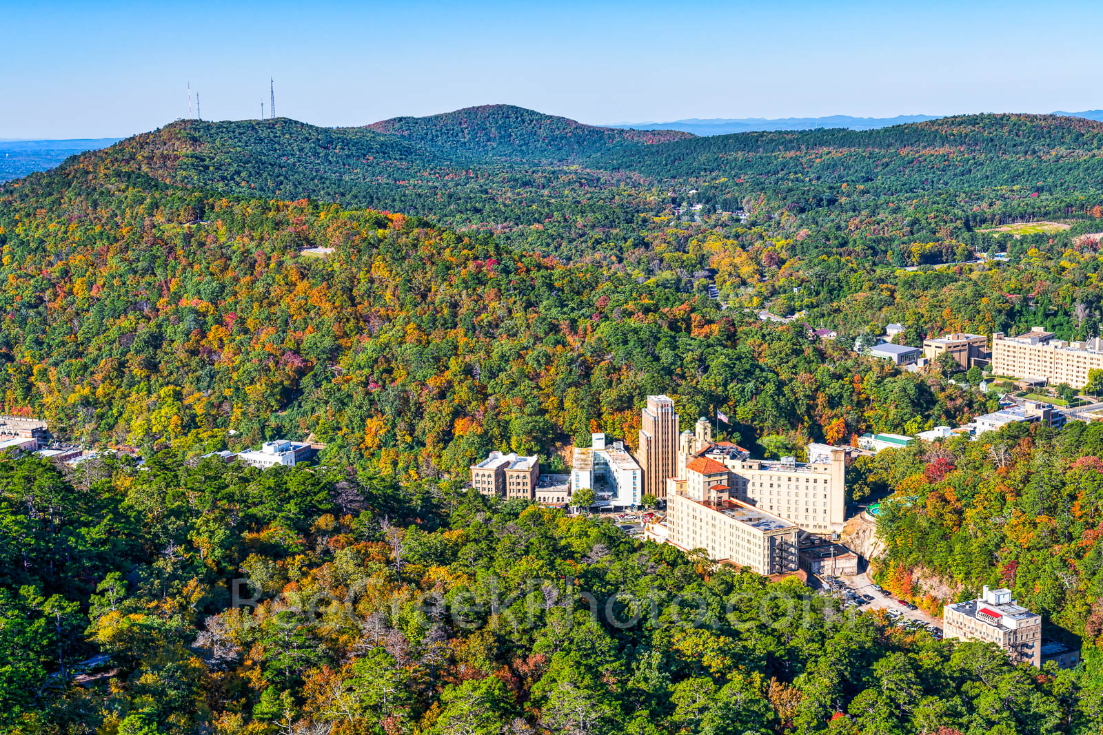 Tower Mountain, Hot Springs, color, fall, trees, hillside, Arlington Hotel,, Medical Art Building, cityscape, downtown, tourist, town, hills,, photo