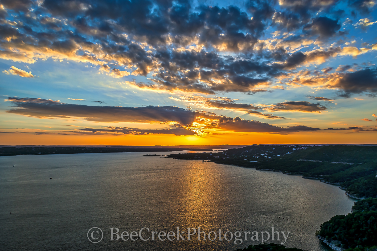 Austin, Lake Travis, sunset, colorful, clouds, images of Texas, lake, landscapes, orange, photos of Texas, rural, texas hill country, texas landscape, texas, America, American, recreational, boating,
