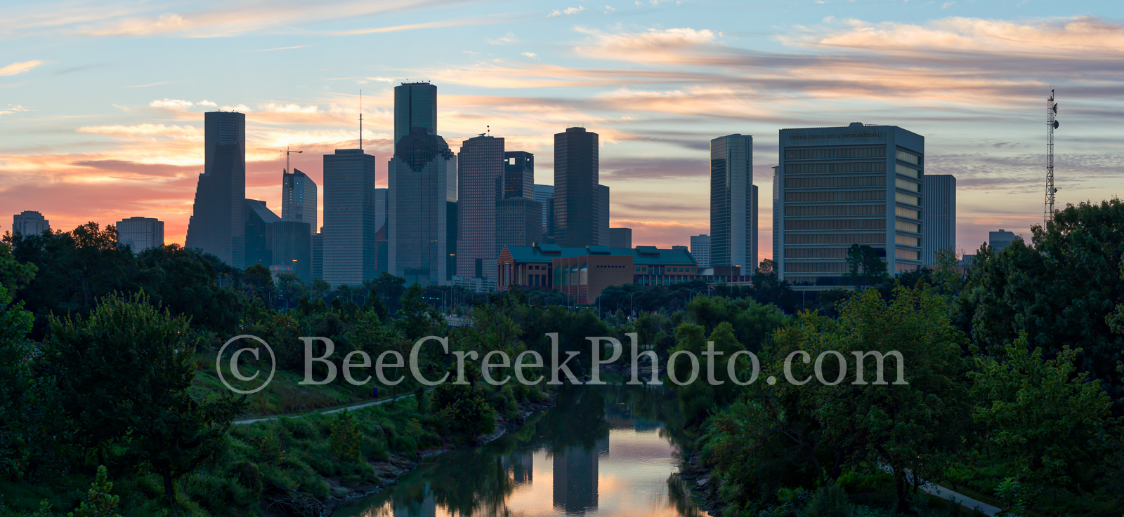 Houston, Sunrise, Buffalo Bayou skyline, buffalo bayou,  skyline, skylines, cityscape, cityscapes, downtown, water, reflections, pinks, oranges, sky, morning, city views, city,, photo