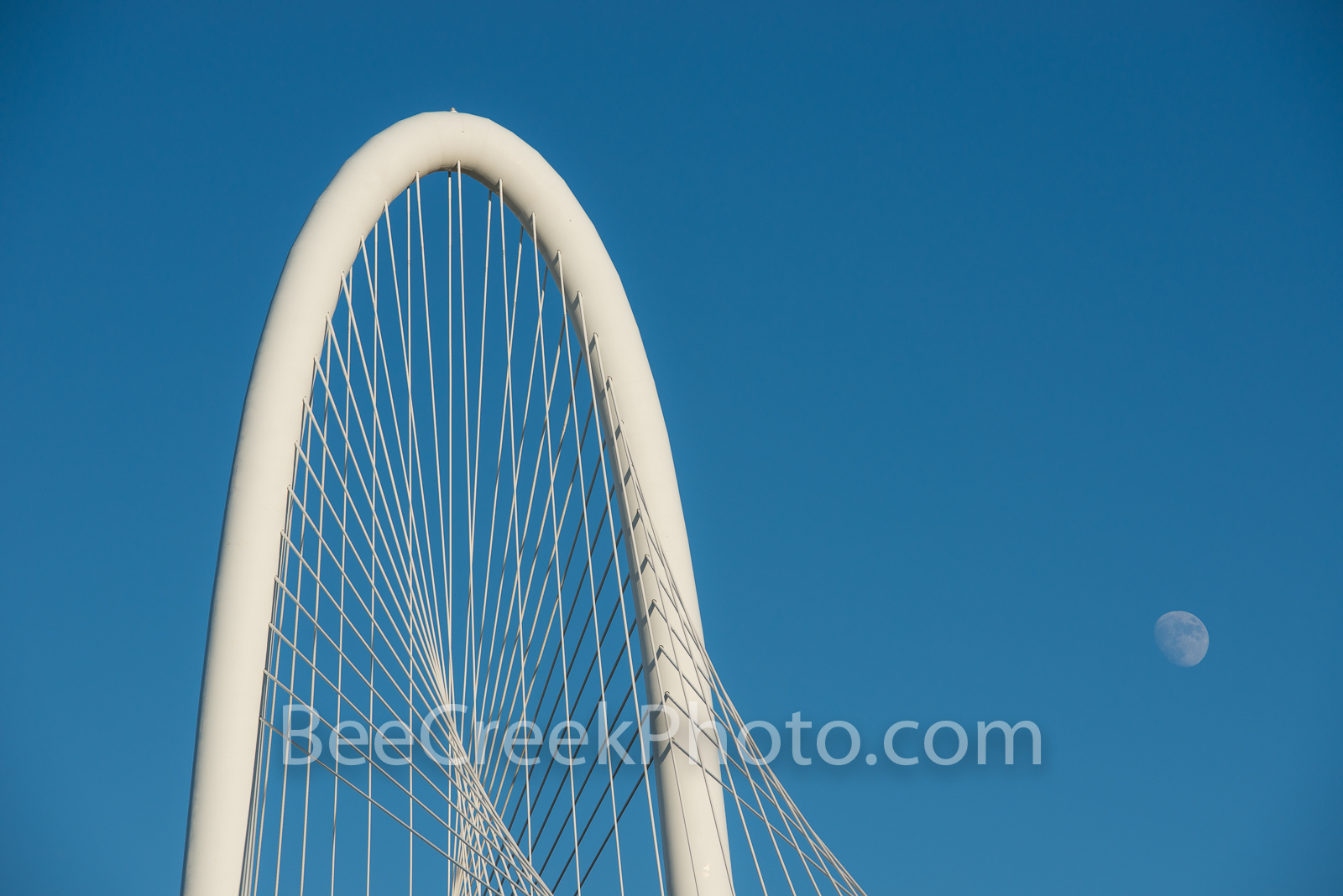 Margaret Hill Hunt Bridge with Moon - This is an image capture of the top of the Margaret Hill Hunt Bridge with a moon along...