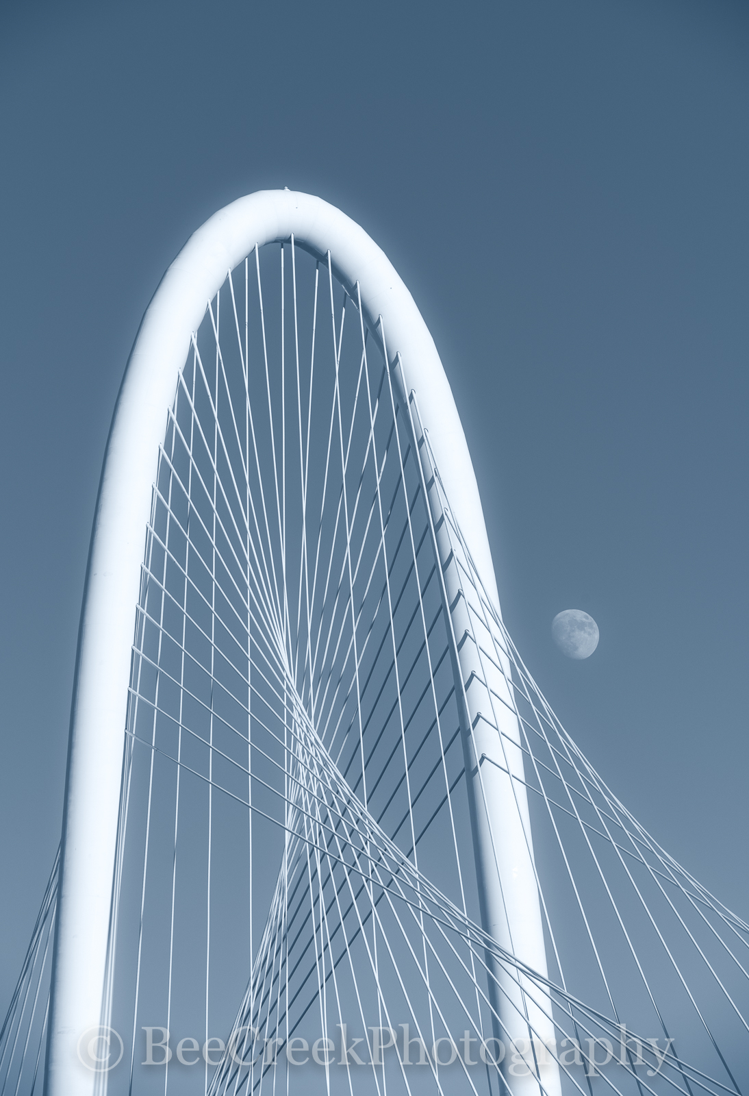 Dallas, arch, bridg, Margaret Hunt Hill Bridge, moon, cyan, vertical, , photo