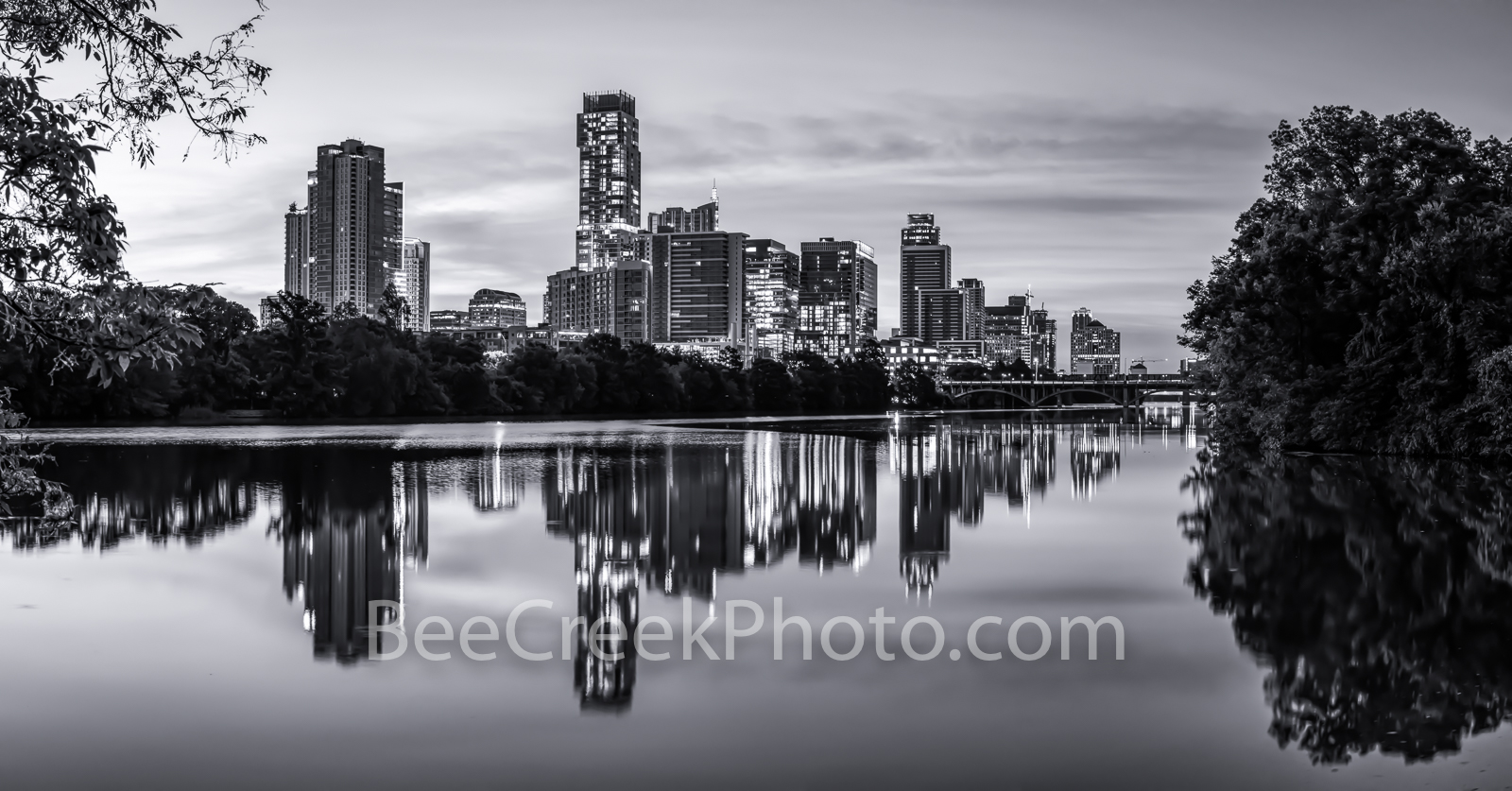 Austin skyline, Skyline of Austin, Lou Neff Point, Lou Neff, black and white, b w , reflections, lady bird lake, downtown, austin, skyline, texas skylines, urban, water, town lake, independent, lamar , photo