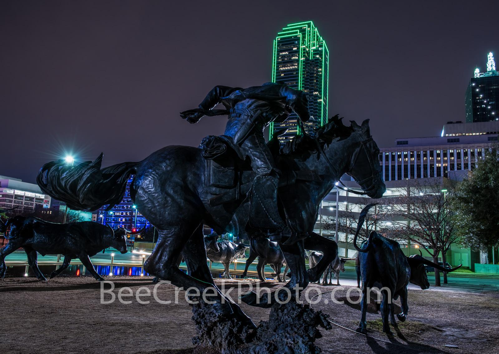 Dallas, Pioneer Plaza, Dallas parks, cowboy,  cattle drive, cowboy trail rider, horse, longhorn bronze statues, park, city of dallas, downtown dallas, historical, natural, dallas night, , photo