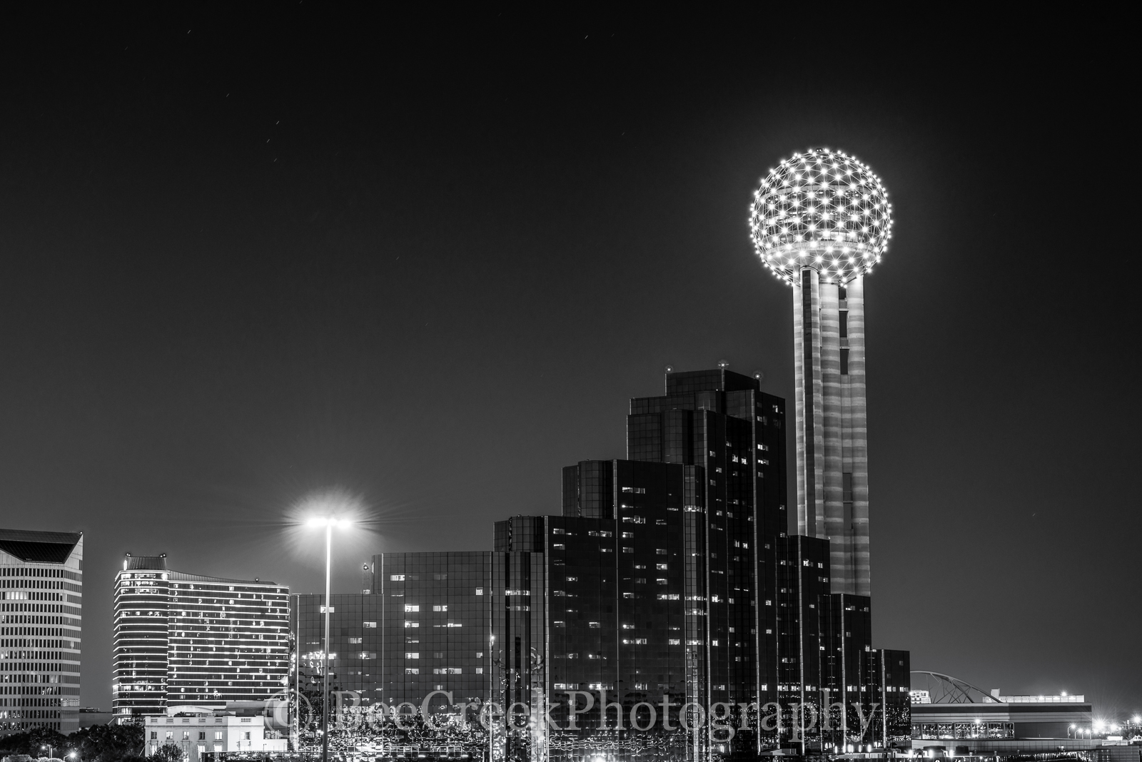 Dallas, Hyatt Regency, black and white, city, cityscape, cityscapes, downtown, landmark, landmarks, night, reunion tower, skyline, skylines, photo