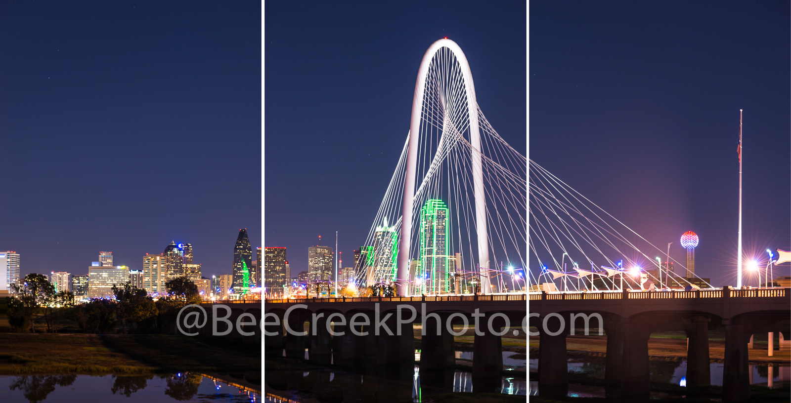 Dallas, skyline, Margaret Hunt Hill bridge, night, twilight, triptych, split panel, split images, panorama, trinity river, USA, american, city, downtown, skyscrapers, Reunion Towers, , photo