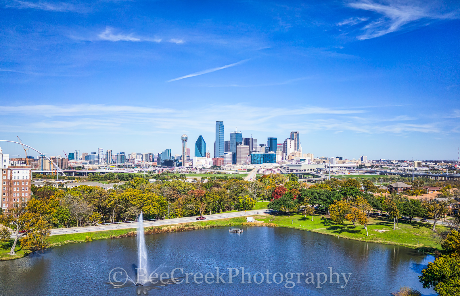 Bridge, Dallas, city, cityscape, cityscapes, fountain, park, skyline, water, aerial, , photo