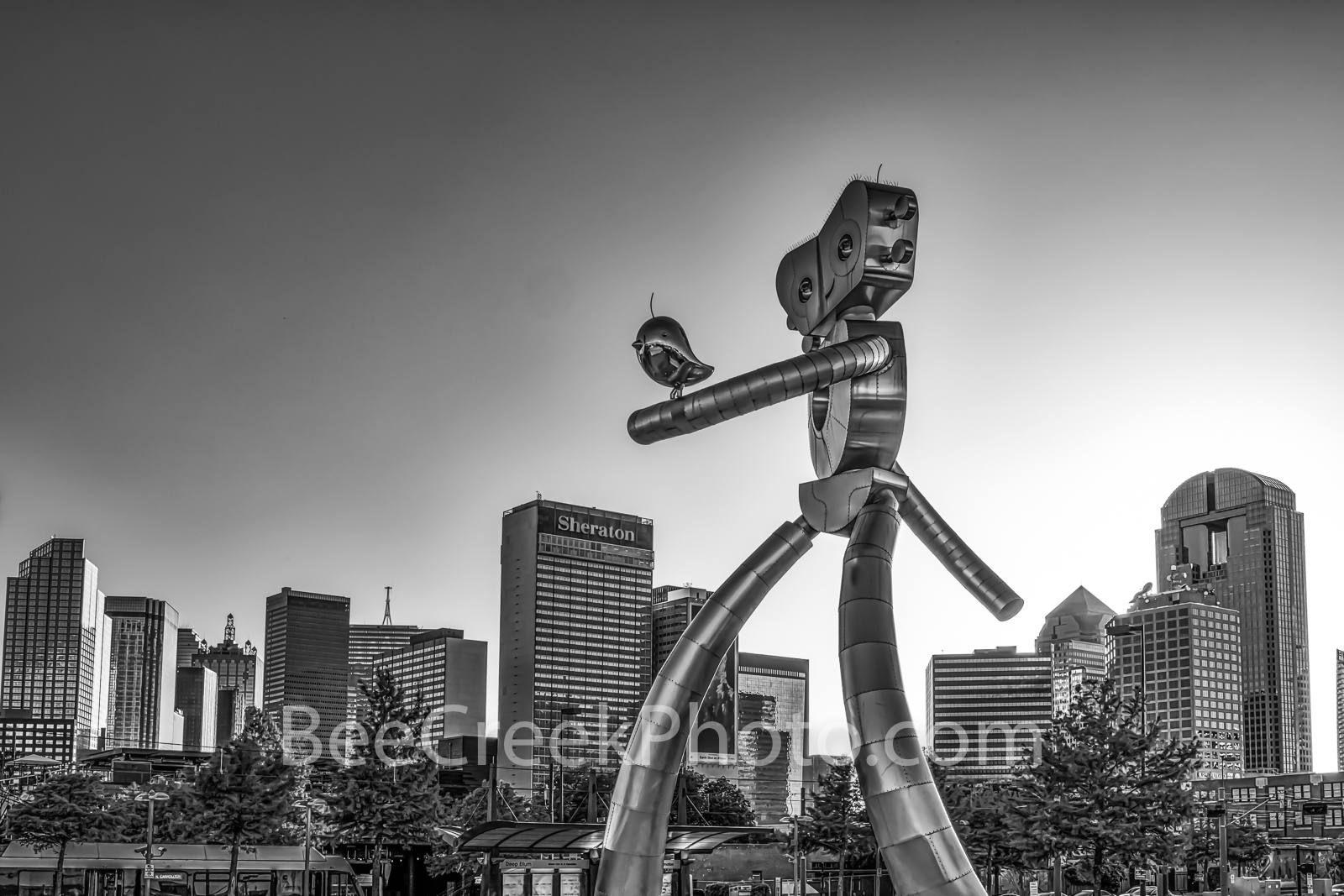 Dallas, Traveling Man, skyline, skylines, downtown, train, train station, mass transit,night,  east dallas, downtown dallas, polished metal, rivets, railroad, black and white, tranist,, photo