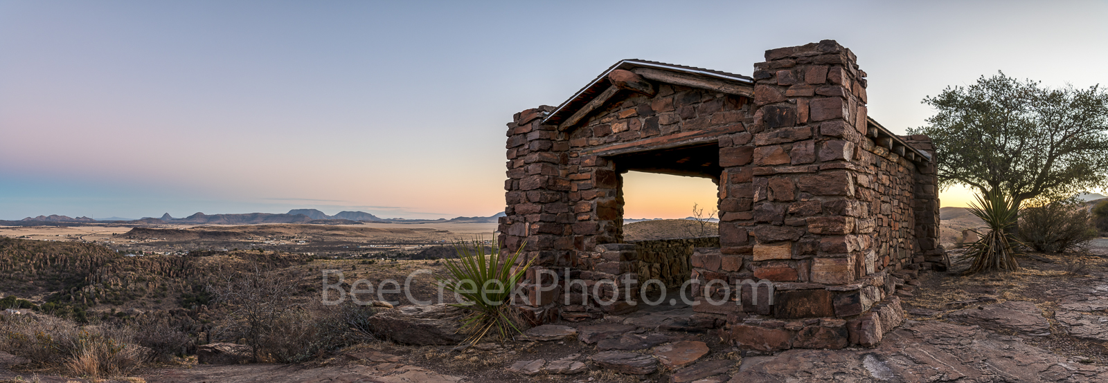 Davis Mountain Overlook, panorama, pano, sunset, colors, rock building, Texas landscape, mountain, Davis Mountain State Park, west texas, texan, usa, united states, america, Fort Davis, , photo
