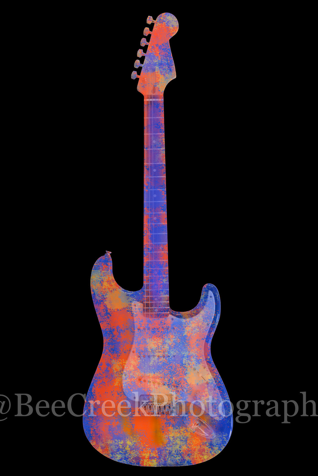 Electric Guitar Abstract on Black Vertical  - This colorized abstract guitar with it different shades of blue, red, purple and...