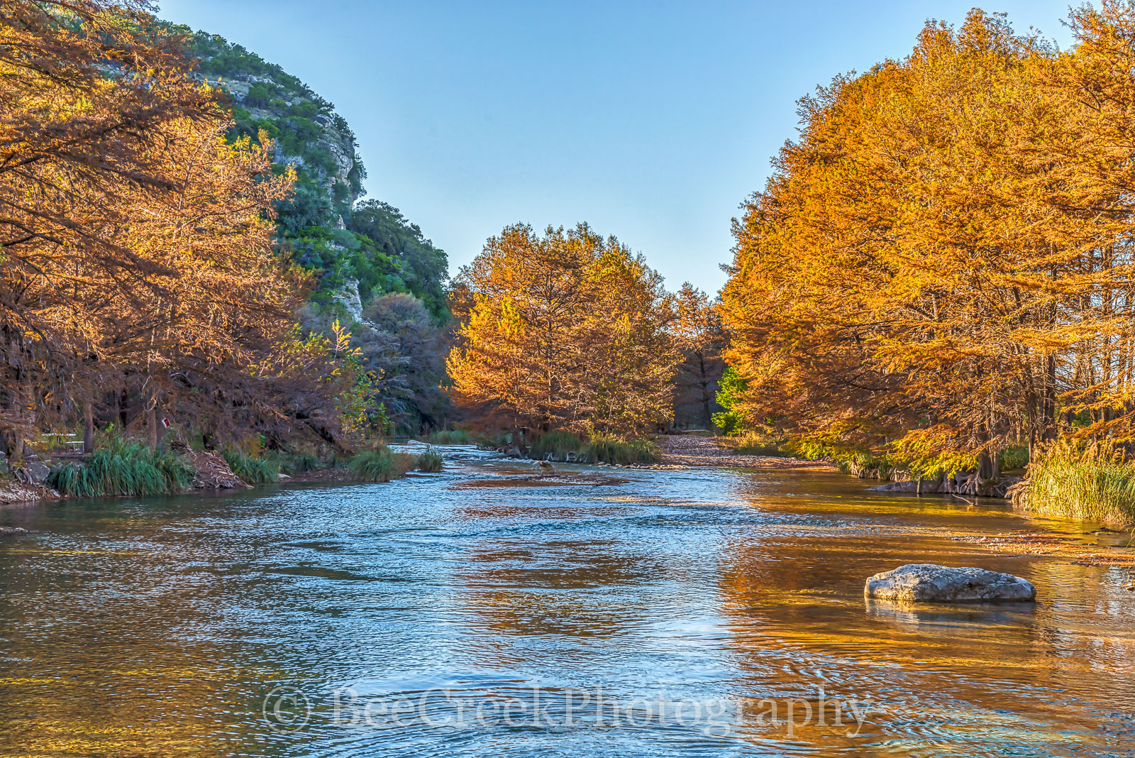 Concan, Frio River, Hill Country, River, clear, colors, cool, cypress, fall, fall landscapes, flowing, images of Texas, landscape, landscapes, orange, photos of Texas, pictures of texas, rocks, rural, photo